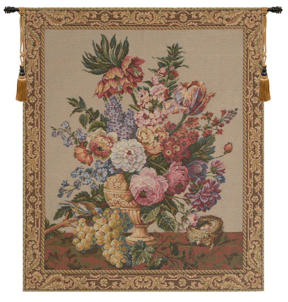 Brussels Bouquet Creme European Tapestry Wall Hanging Regarding 2018 Blended Fabric Ethereal Days Chinoiserie Wall Hangings With Rod (View 15 of 20)