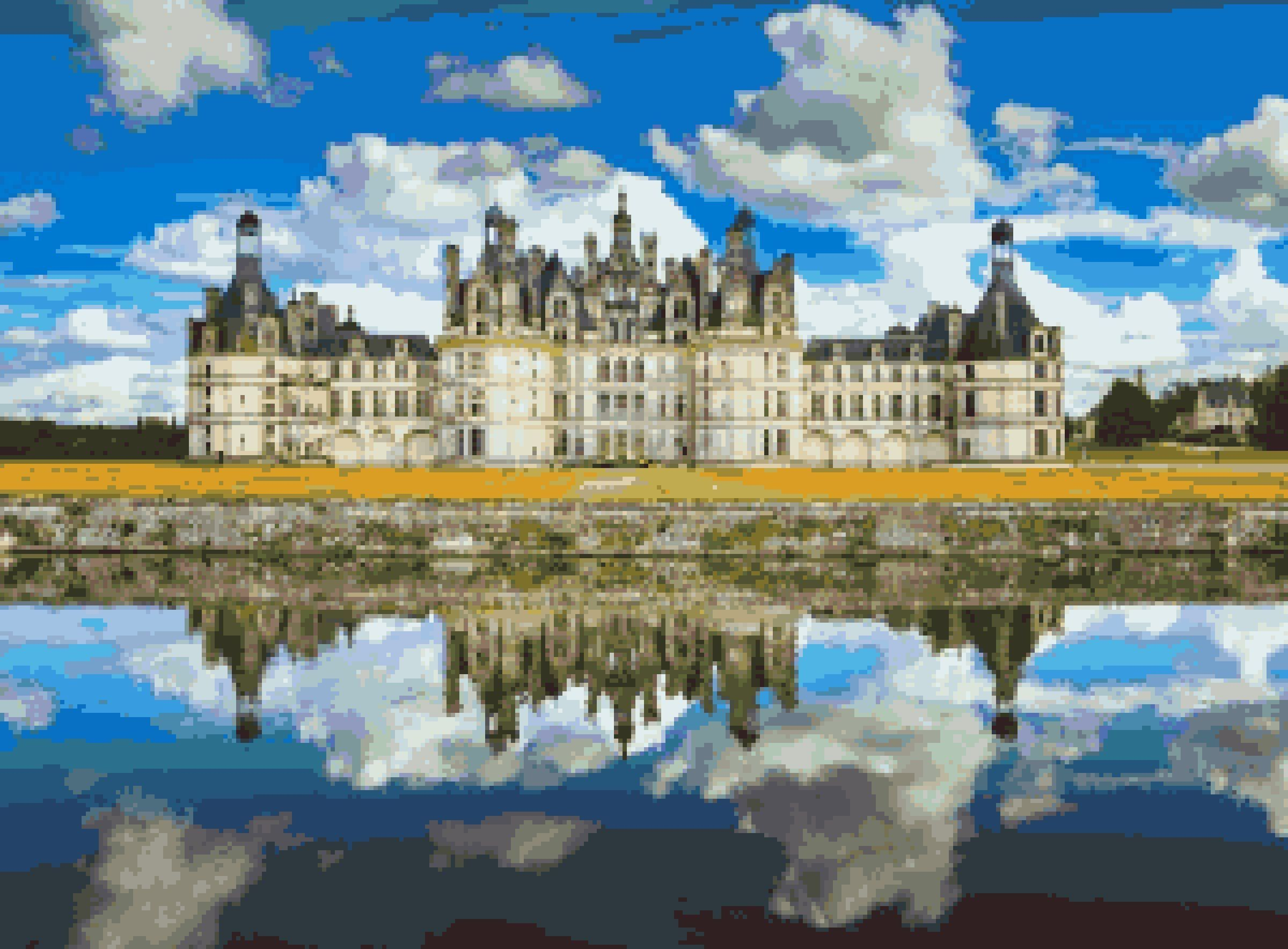 Chateau De Chambord Cross Stitch Pattern: French Castle Intended For Most Popular Chambord Castle I European Wall Hangings (View 18 of 20)