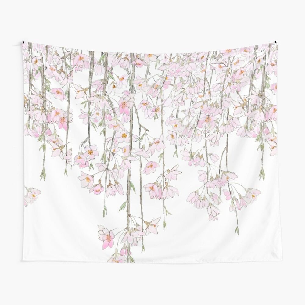 "Cherry Blossom Watercolor Spring 2018 "" Tapestry With Latest Blended Fabric Spring Blossom Tapestries (View 12 of 20)"