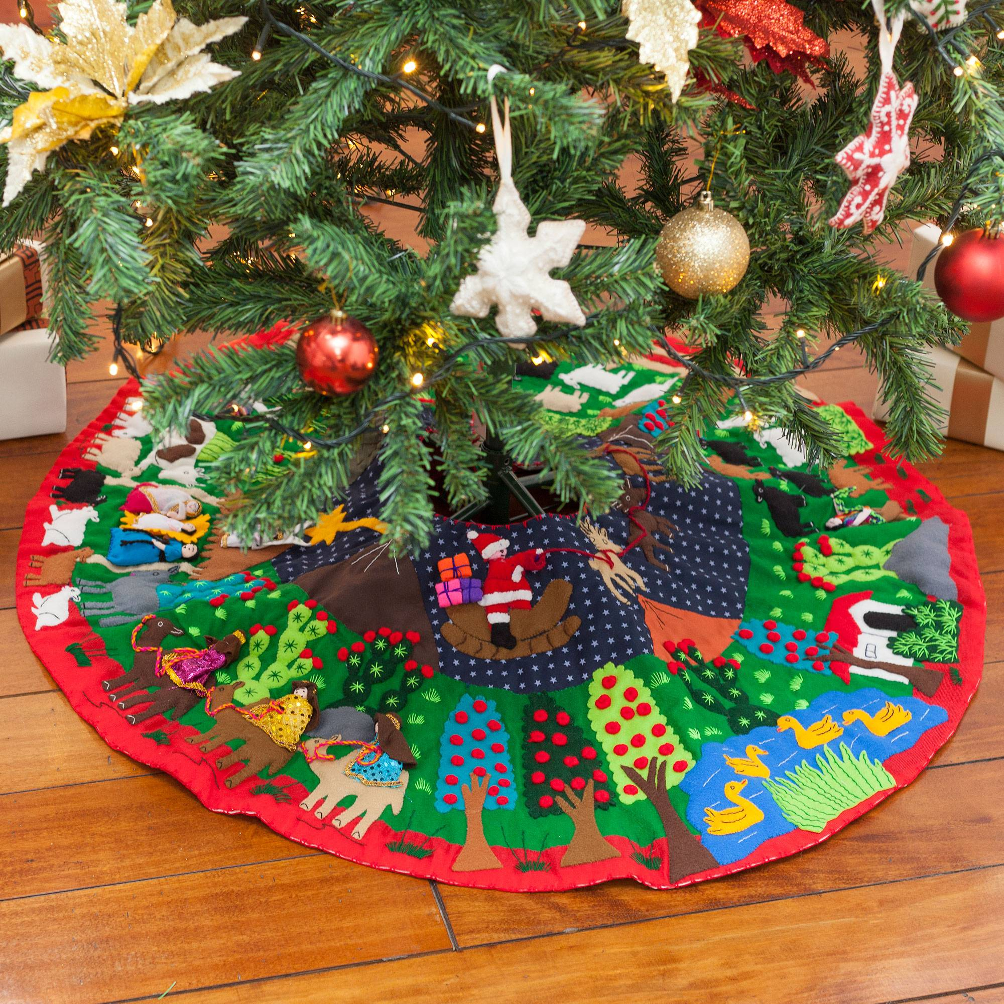 Christmas Themed Cotton Blend Patchwork Tree Skirt From Peru, 'christmas Time' For Most Recent Blended Fabric Blessings Of Christmas Tapestries (View 15 of 20)