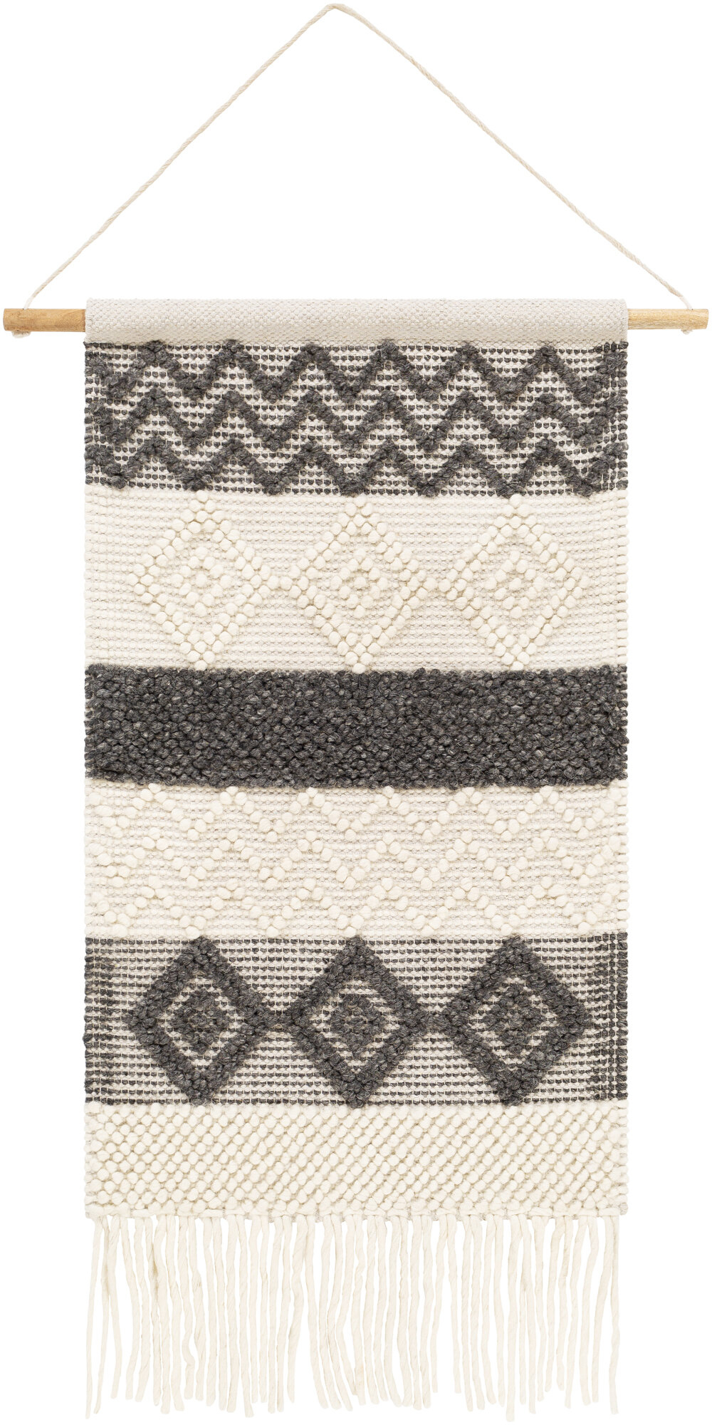 Clancy Wool And Cotton Wall Hanging With Hanging Accessories Included Within Most Popular Blended Fabric Clancy Wool And Cotton Wall Hangings With Hanging Accessories Included (View 2 of 20)