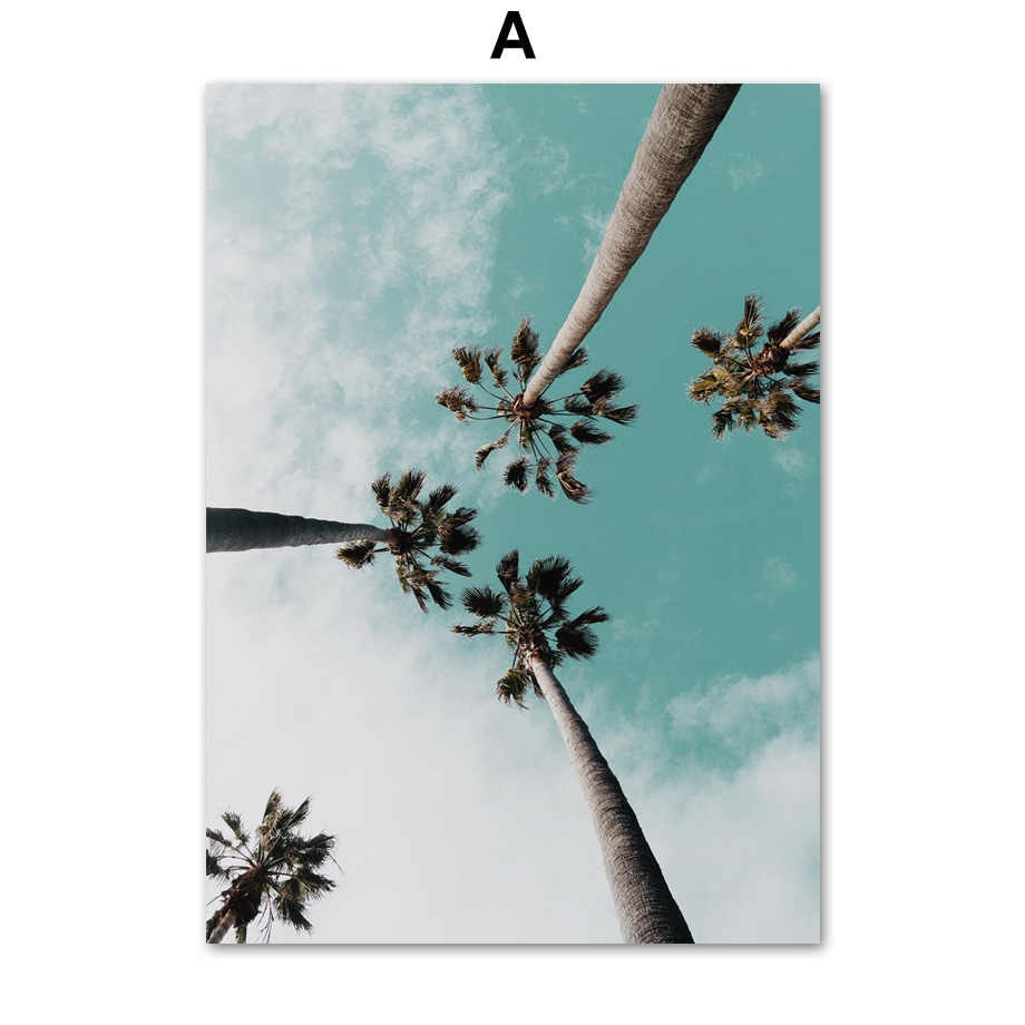 Coconut Palm Tree Pink Beach Sea Umbrella Wall Art Canvas Painting Nordic Posters And Prints Wall Pictures For Living Room Decor Within Recent Blended Fabric Palm Tree Wall Hangings (View 15 of 20)