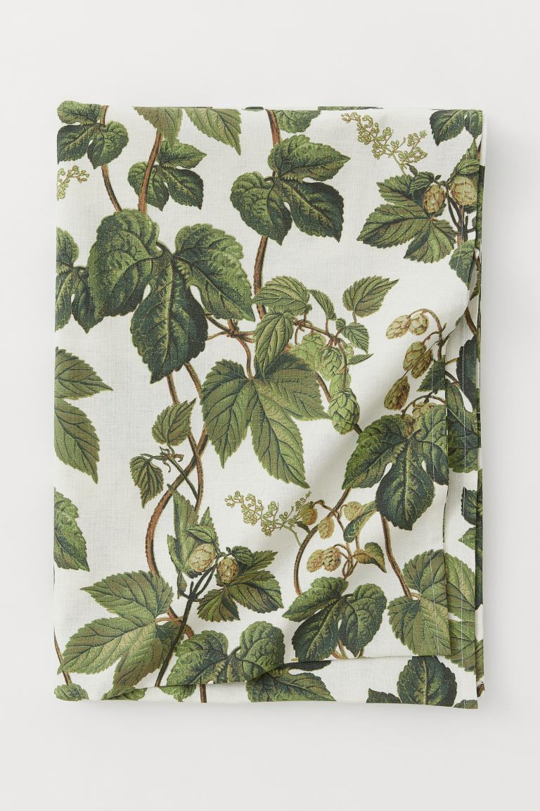 Cotton Blend Tablecloth – Natural White/leaf Patterned For Current Blended Fabric Leaf Wall Hangings (View 4 of 20)