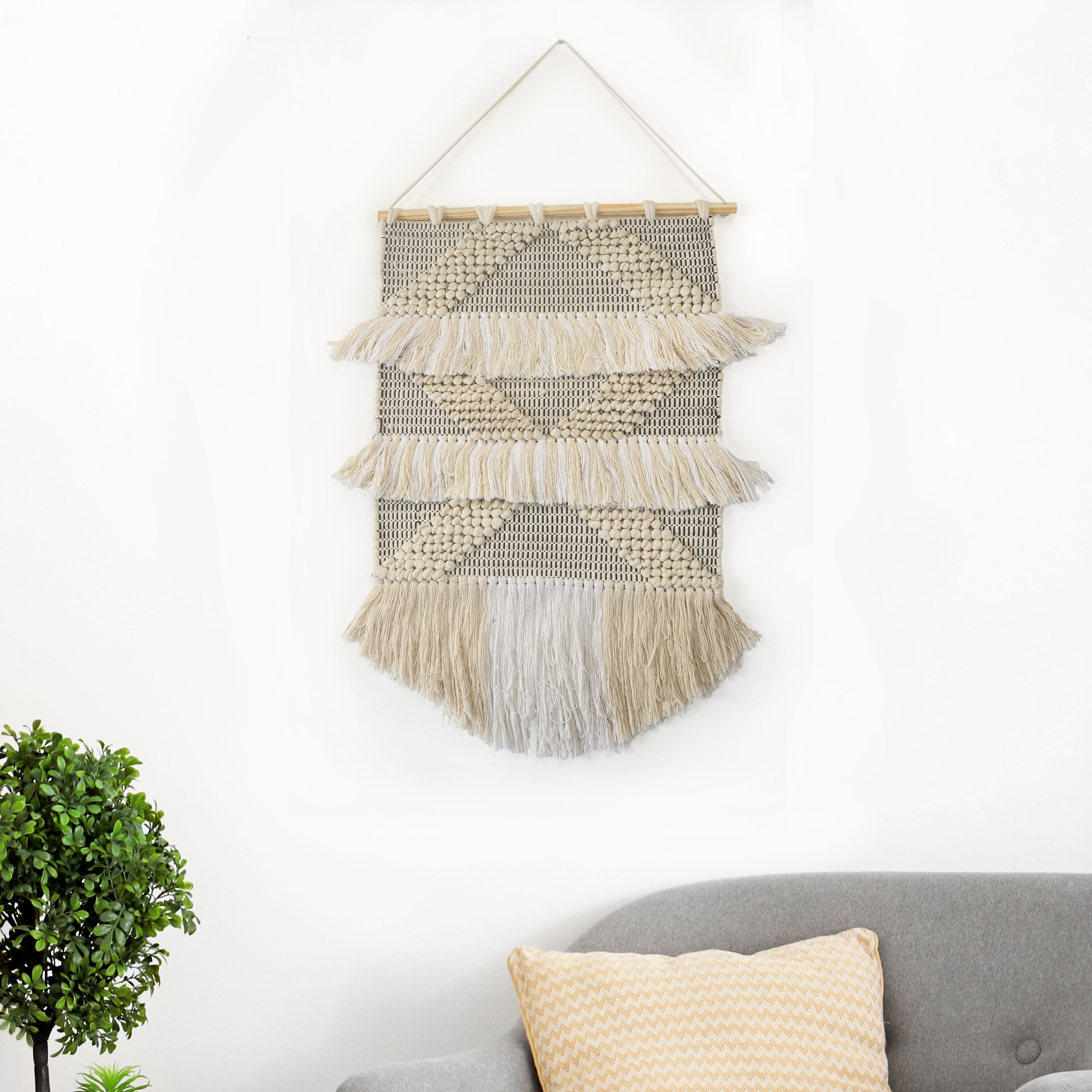 Cotton Diamond Tufted And Fringed Wall Hanging With Hanging Accessories Included Regarding Most Recently Released Blended Fabric Southwestern Bohemian Wall Hangings (View 14 of 20)
