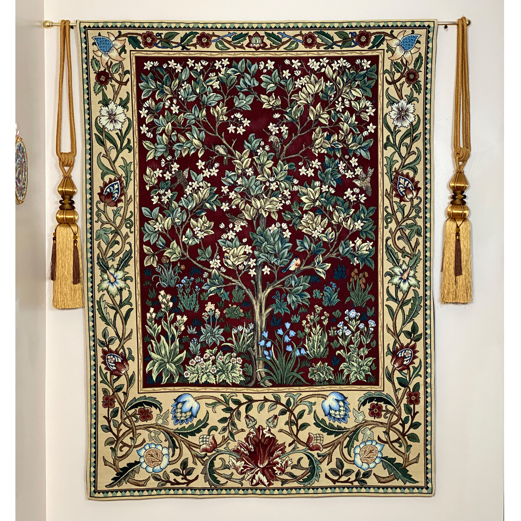 Cotton William Morris Tree Of Life Wall Hanging Regarding 2017 Blended Fabric Mucha Autumn European Wall Hangings (View 6 of 20)