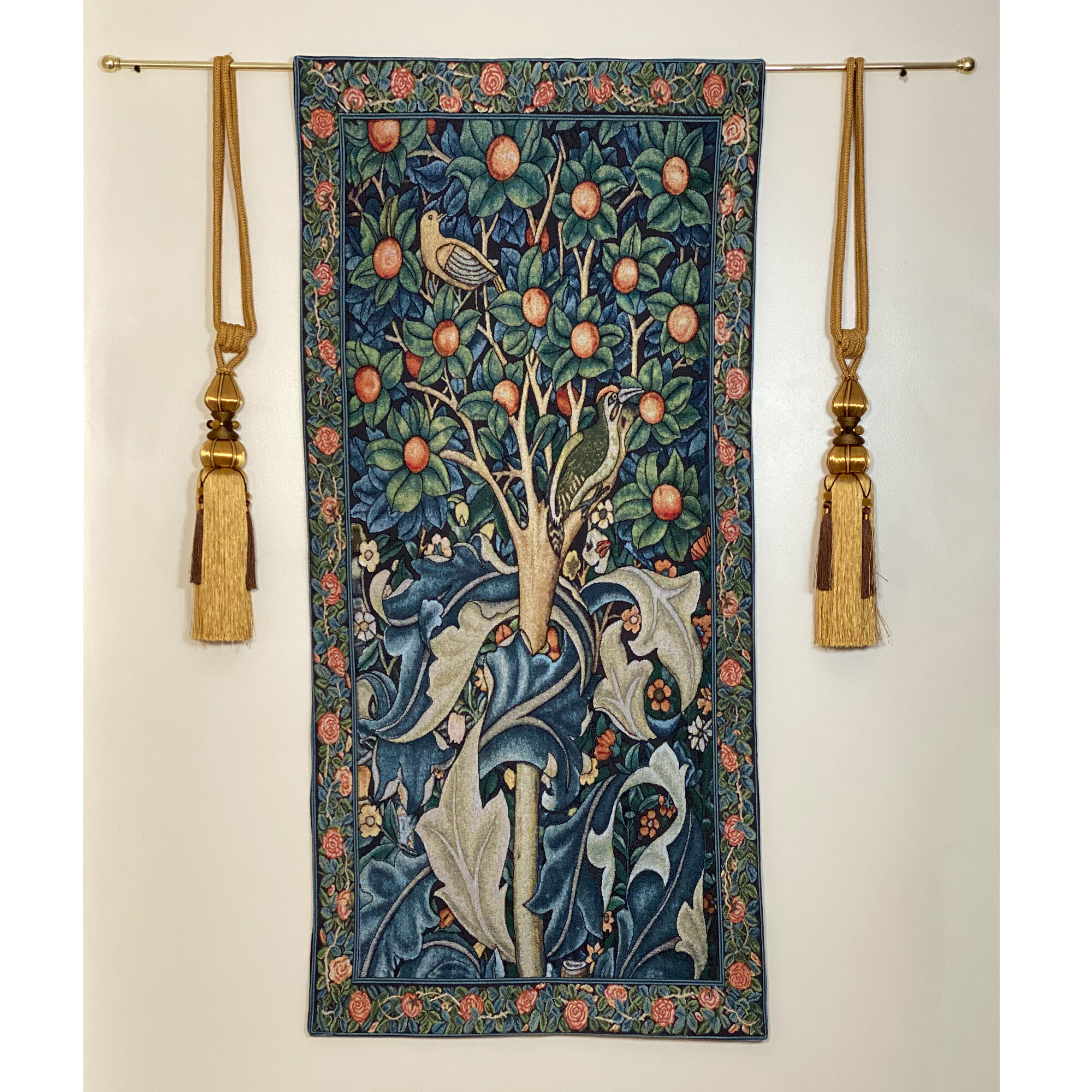 Cotton William Morris Woodpecker In Fruit Tree Wall Hanging With 2017 Blended Fabric Hidden Garden Chinoiserie Wall Hangings With Rod (View 7 of 20)