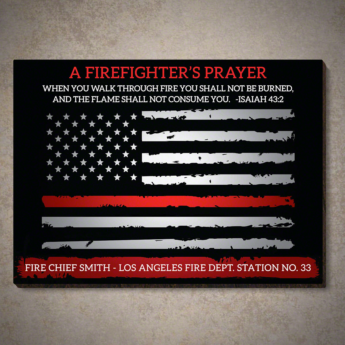 Custom Firefighter's Prayer Sign Isaiah 43:2 With Regard To Most Up To Date A Fireman Prayer Wall Hangings (View 11 of 20)