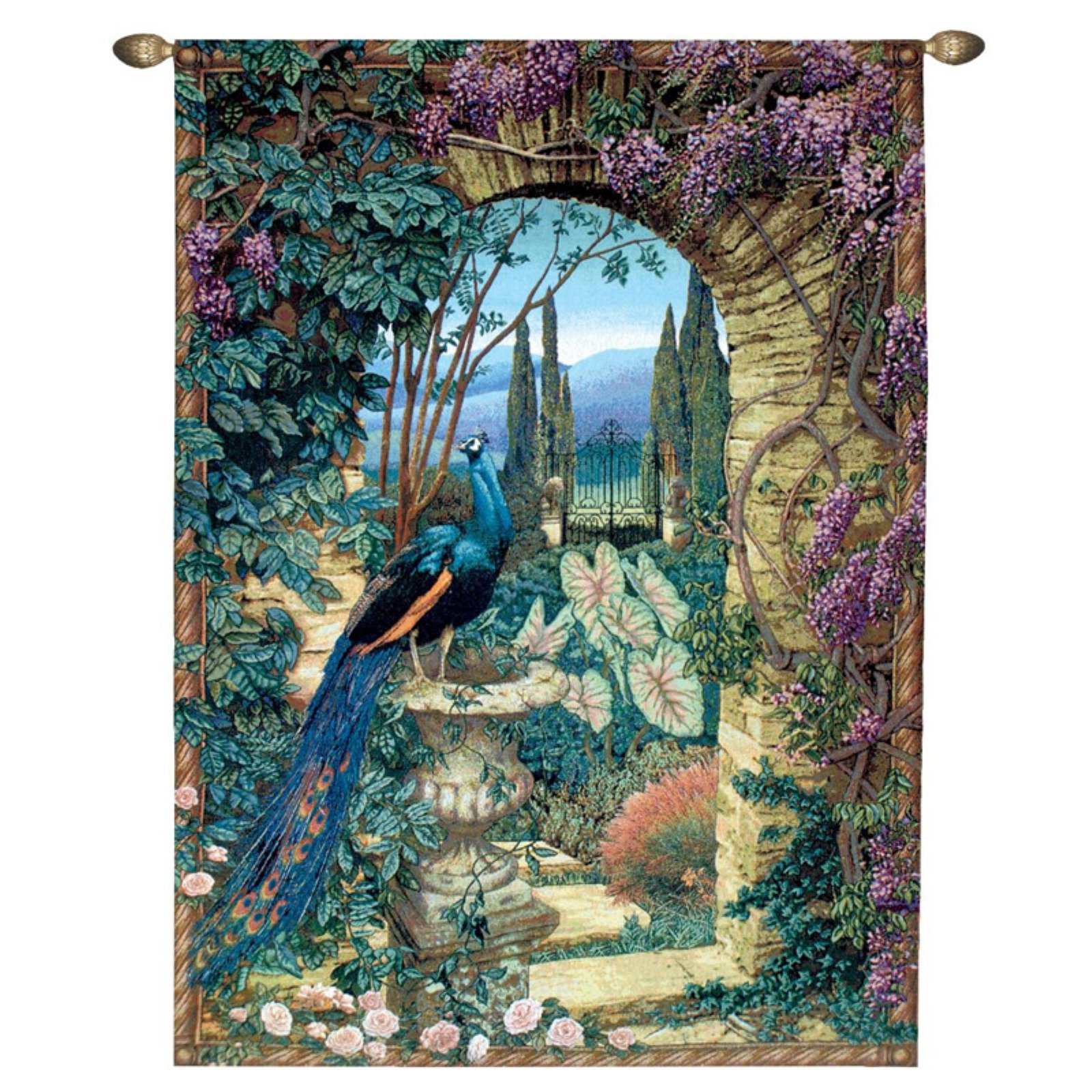 Design Toscano The Peacock's Garden Wall Tapestry: Grand – Walmart Pertaining To Most Current Blended Fabric Peacock European Tapestries (View 5 of 20)