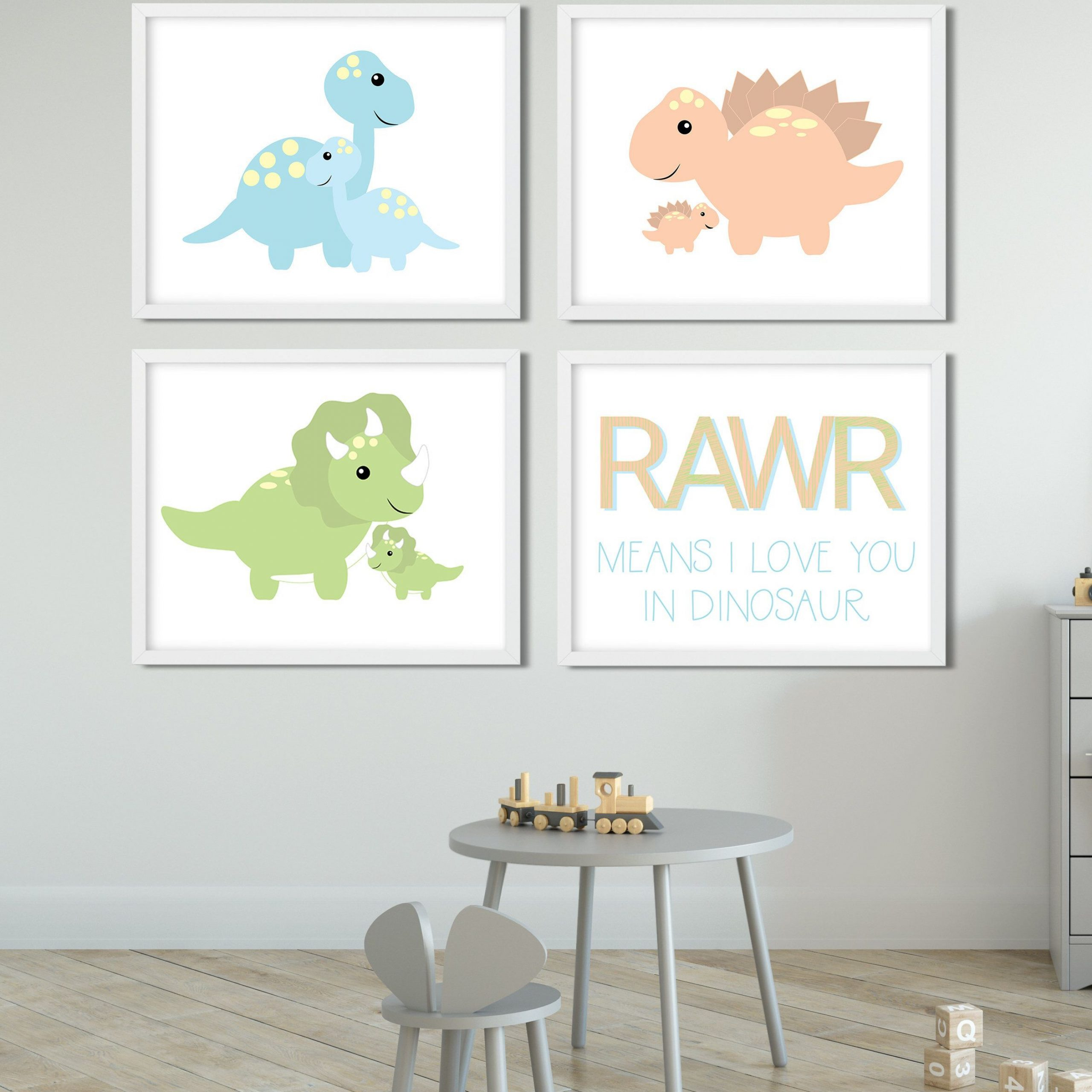 Dinosaur Nursery Dinosaur Art Dinosaur Nursery Ideas With Newest Blended Fabric Mod Dinosaur 3 Piece Wall Hangings Set (View 7 of 20)