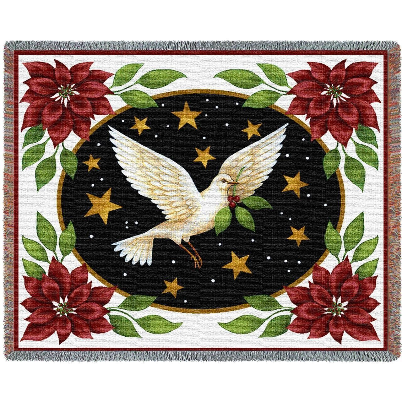 Dove And Poinsettia Blooms Art Tapestry Throw | Tapestry In 2018 Blended Fabric Blessings Of Christmas Tapestries (View 10 of 20)