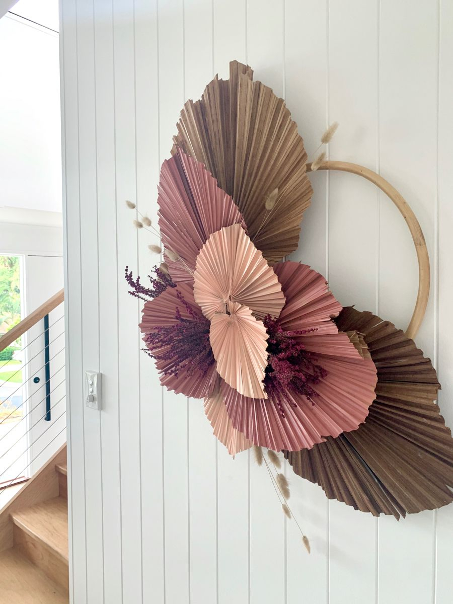 Dried Palm Floral Wall Art   Palm Leaf Decor, Dried Flower Intended For Most Popular Blended Fabric Leaf Wall Hangings (View 1 of 20)