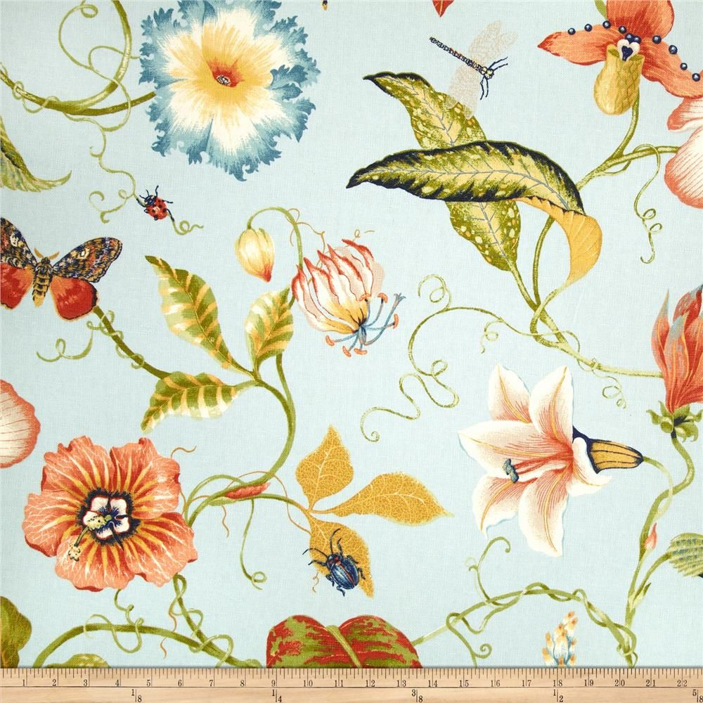 Duralee Home Flora Imperialis Light Blue   Green Window For Newest Blended Fabric Hidden Garden Chinoiserie Wall Hangings With Rod (View 11 of 20)