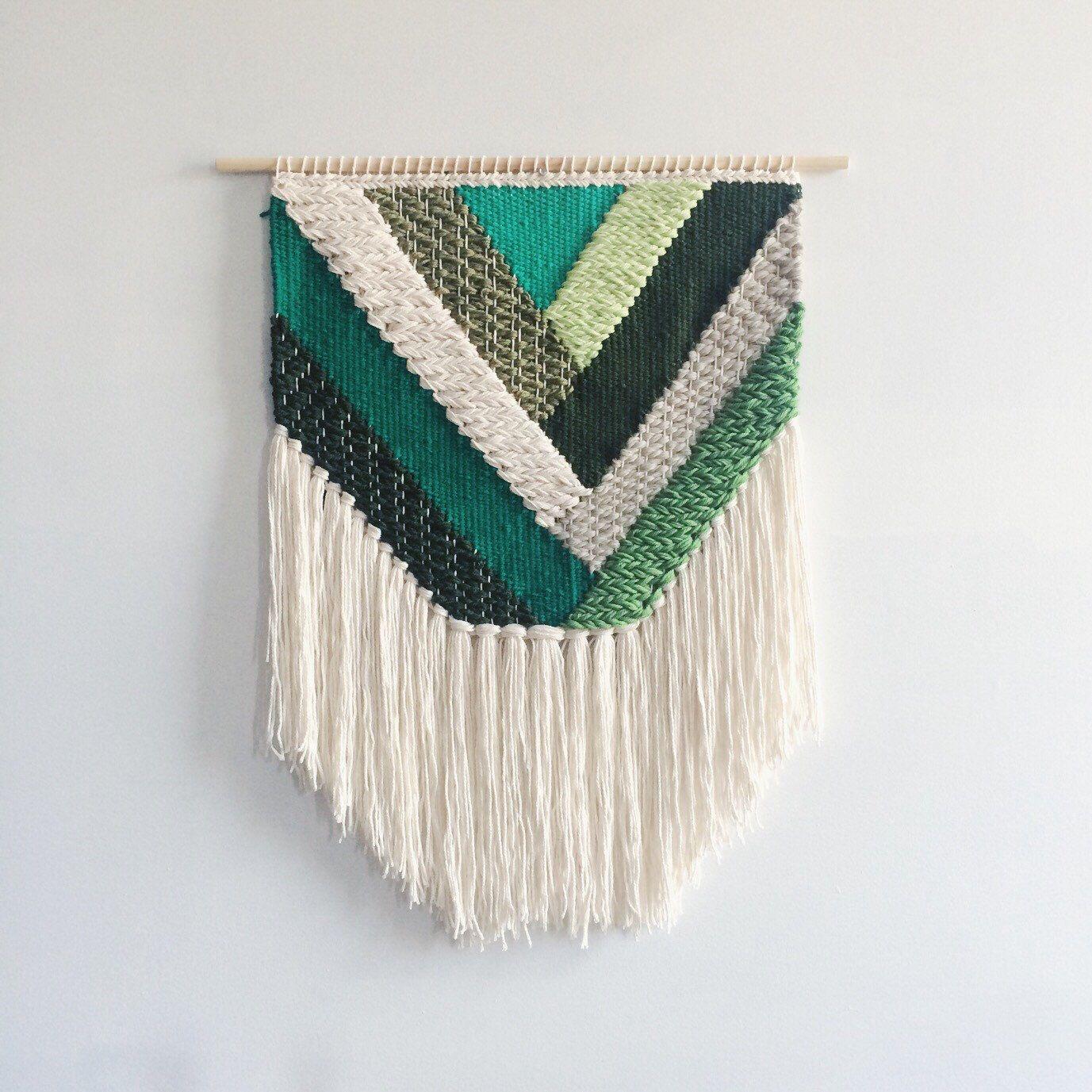 Emerald Geometric Weaving | Hand Woven Wall Hanging Pertaining To 2017 Hand Woven Wall Hangings (View 2 of 20)