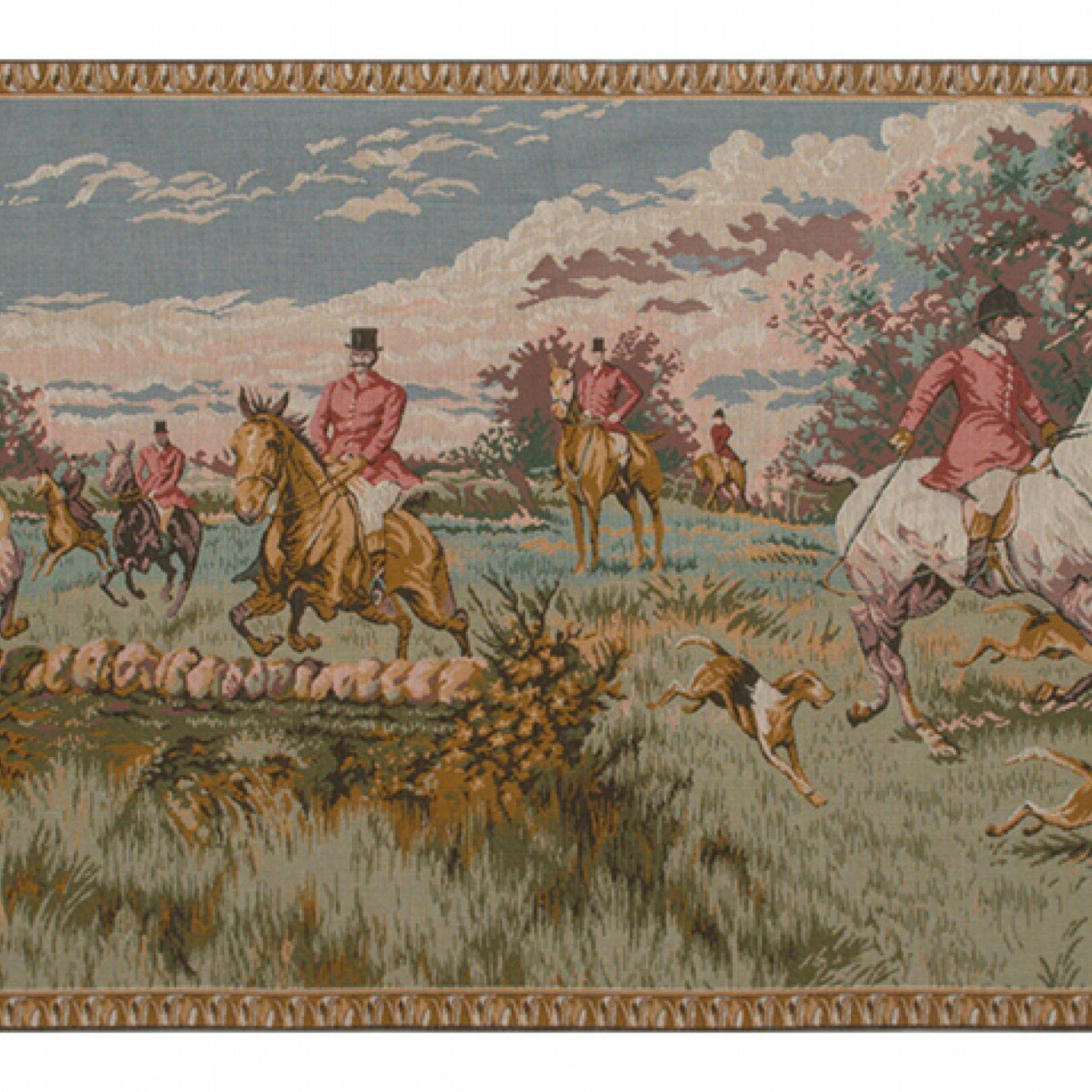 English Hunting Scene European Tapestry Intended For Current Blended Fabric Bellagio Scalinata Wall Hangings (View 11 of 20)