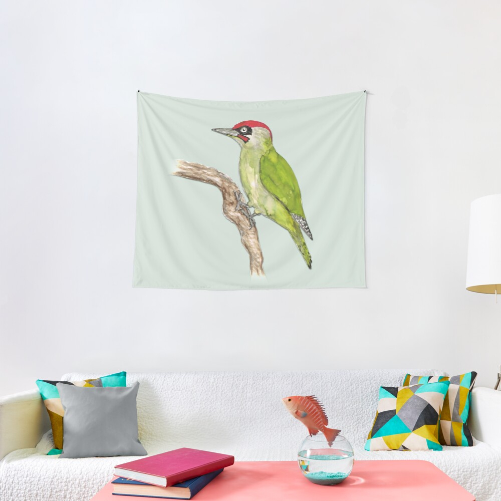 European Green Woodpecker | Tapestry With Current Blended Fabric Woodpecker European Tapestries (View 9 of 20)