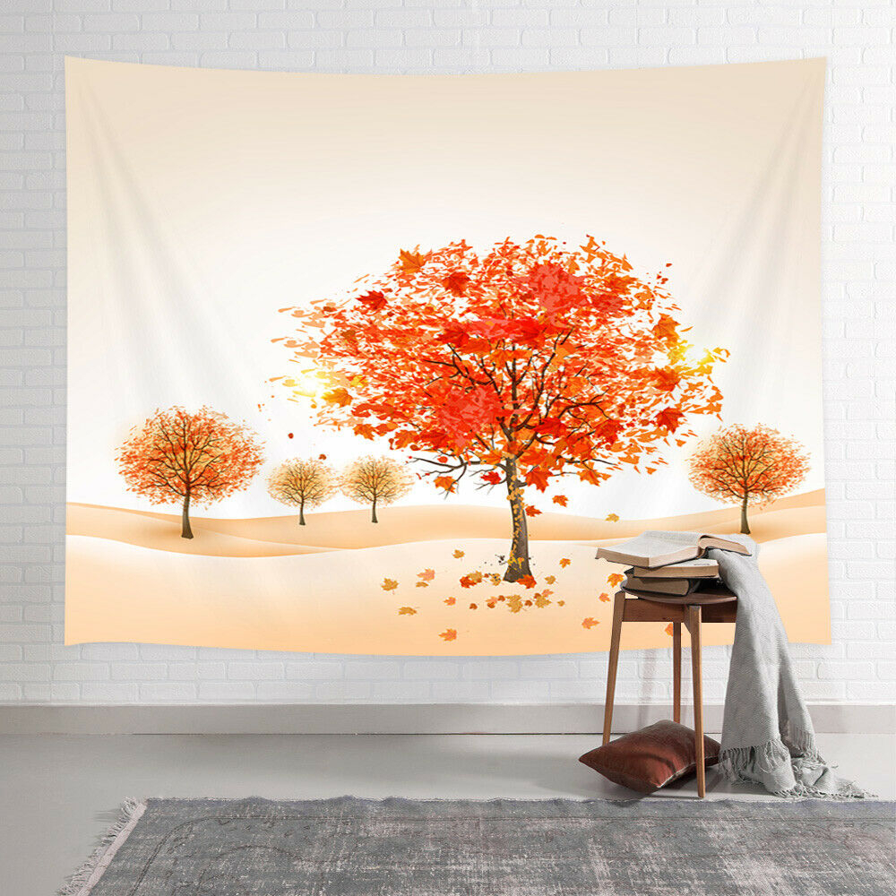 Fall Trees Decor Tapestry Artwork Of Autumn Maple Tree Leaves Wall Art Hanging With Most Up To Date Blended Fabric Living Life Bell Pull Wall Hangings (View 3 of 20)