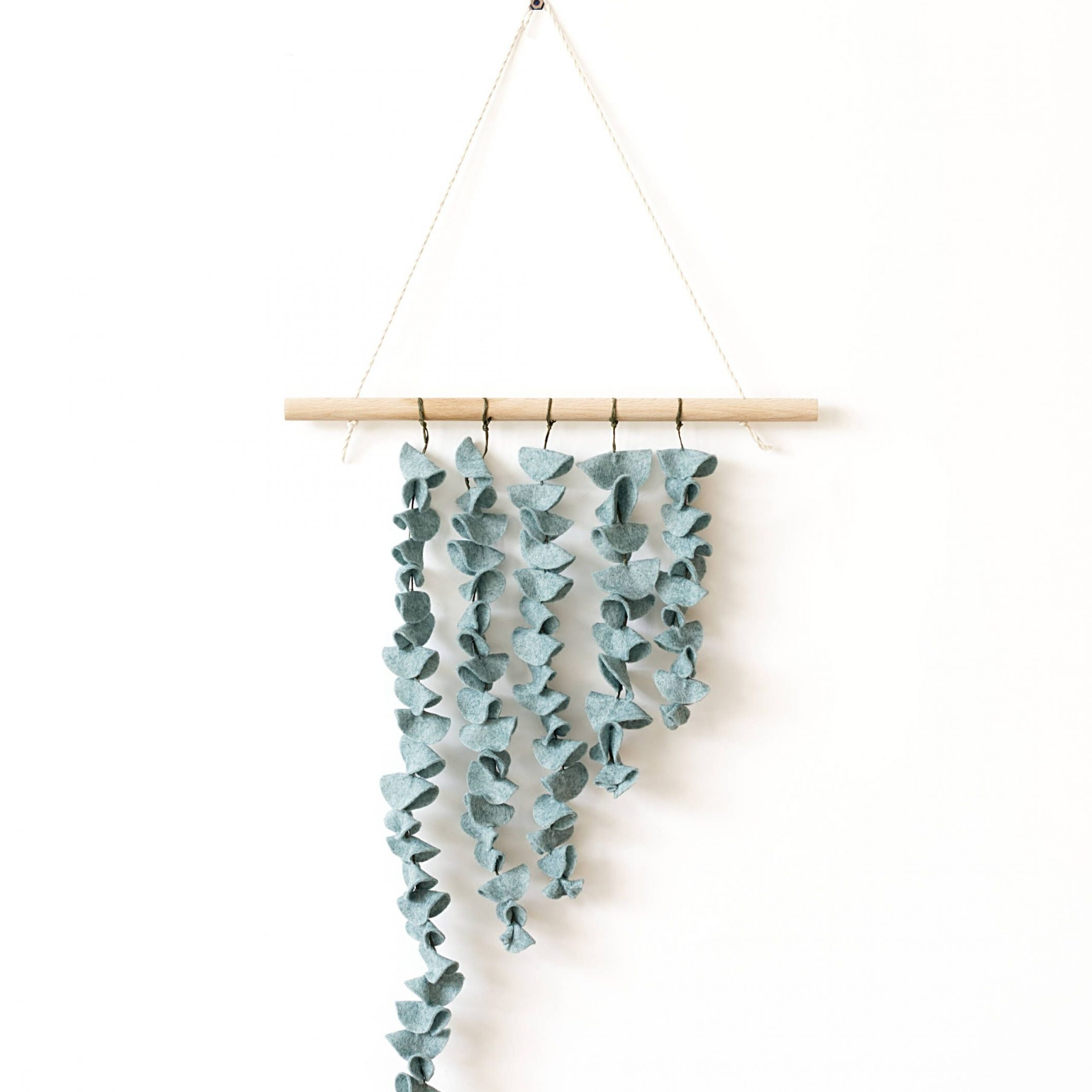Felt Eucalyptus Wall Hanging, Above Bed Decor, Felt Leaves Throughout Most Current Blended Fabric Leaves Wall Hangings (View 16 of 20)