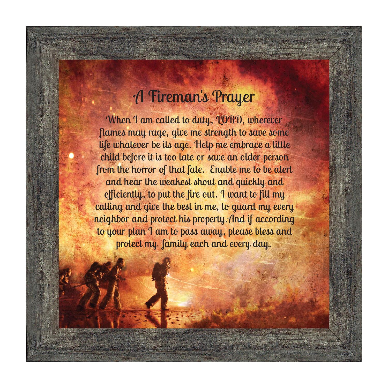 Firefighter Gifts For Men And Women, Fire Academy Graduation Gift, Fire Fighter Gifts Or Firehouse Decor, A Fireman's Prayer Framed Wall Art For Home Throughout Recent A Fireman Prayer Wall Hangings (View 6 of 20)