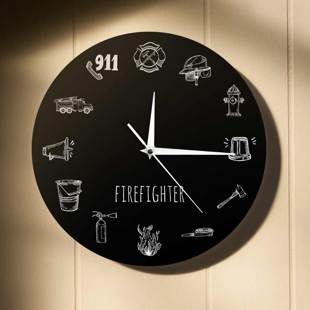 Firefighter Tools Modern Wall Clock Firemen Equipments Drawing Fire Dept Decorative Wall Hanging Wath Fire Department Wall Art Pertaining To Most Up To Date A Fireman Prayer Wall Hangings (View 17 of 20)