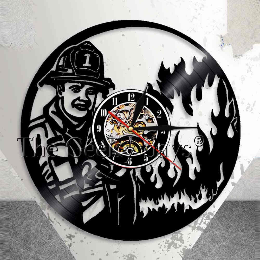 First Responder Firefighter Wall Clock Fire Department Office Wall Decor Vintage Vinyl Record Wall Clock Fireman's Prayer Gift Within Latest A Fireman Prayer Wall Hangings (View 12 of 20)
