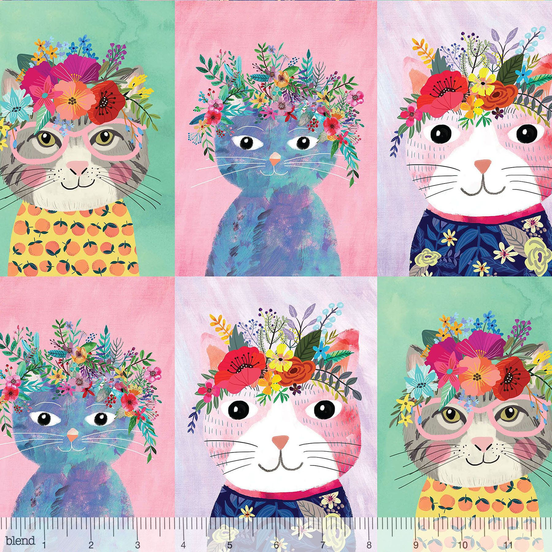 Floral Kitty Multi – Mia Charro – Floral Pets – Blend Fabric Pertaining To Current Blended Fabric Fruity Bouquets Wall Hangings (View 2 of 20)