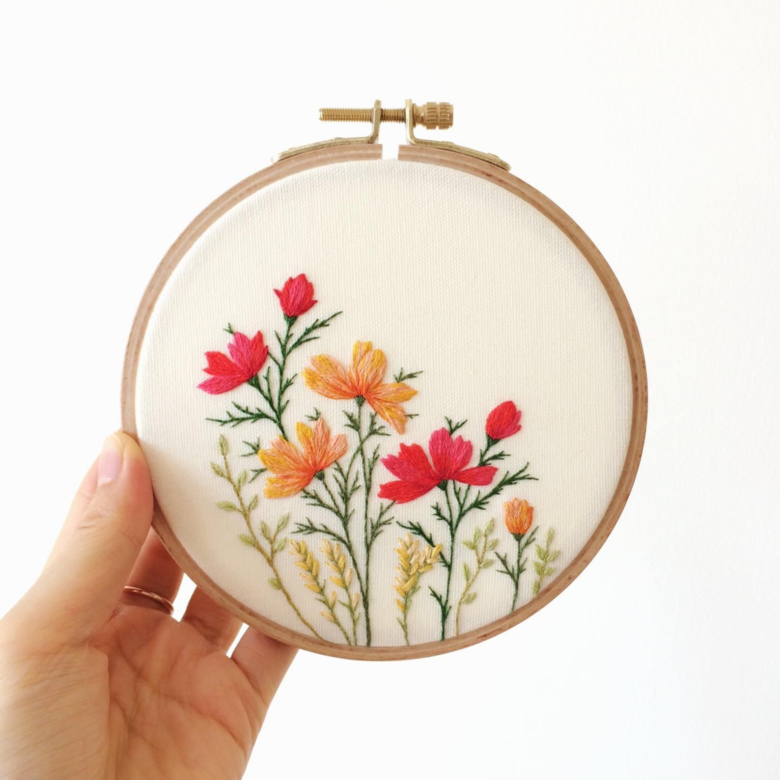 Flower Embroidery Hoop Art With Wild Blossom (View 5 of 20)
