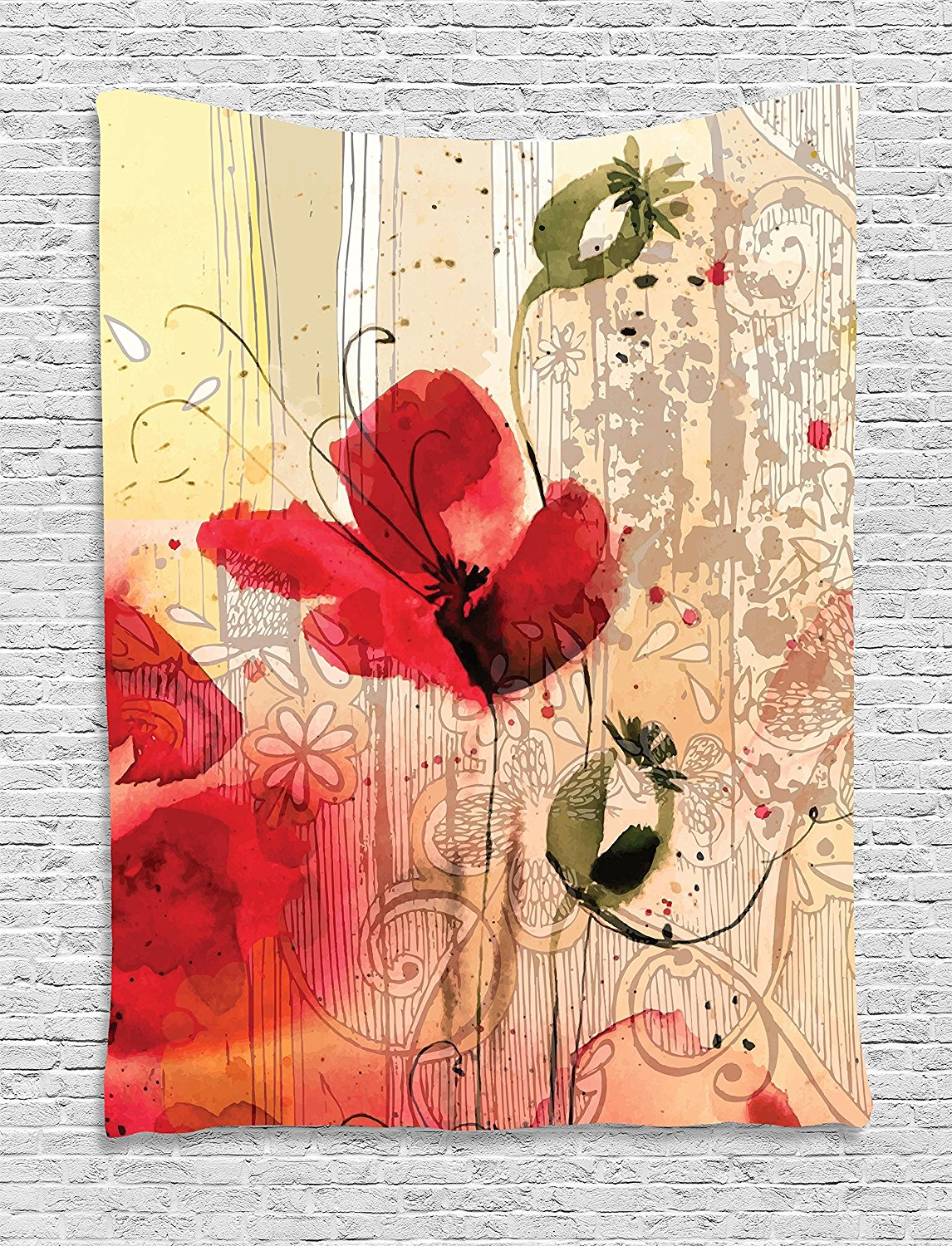 Flower Tapestry Decor, Red Poppy Flower Beige Floral Watercolor Design Digital Art Print Spring Plants, Wall Hanging For Bedroom Living. (View 8 of 20)