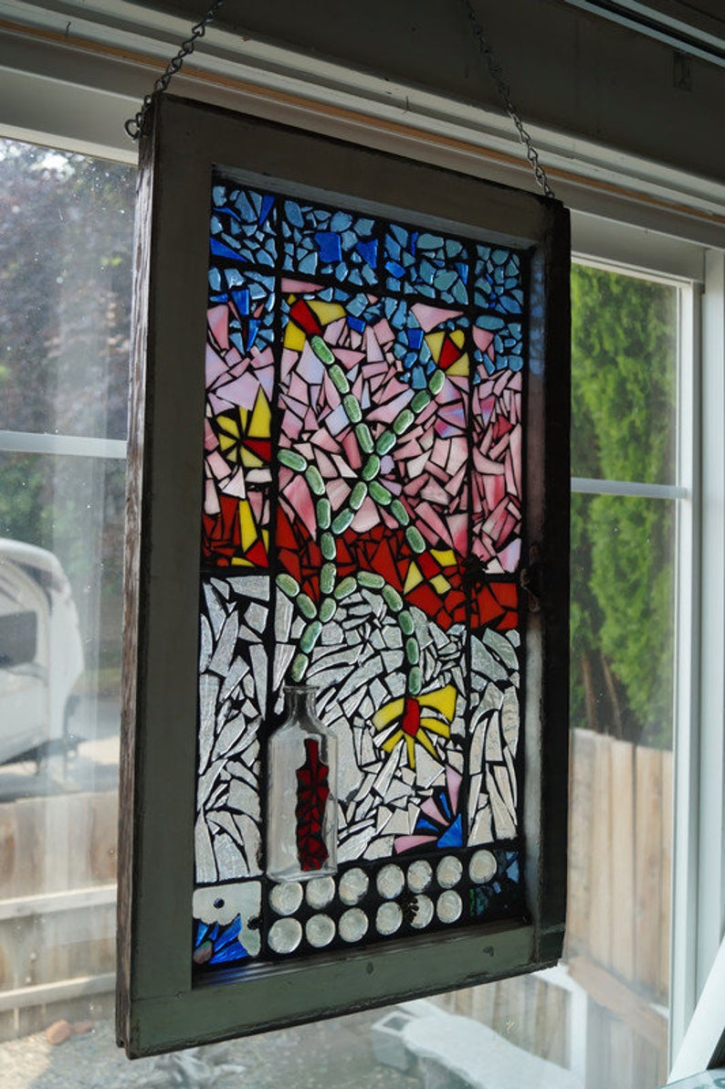 Flower Vase Mosaic Window Stained Glass Vintage Window With Regard To Most Popular Blended Fabric Salty But Sweet Wall Hangings (View 16 of 20)