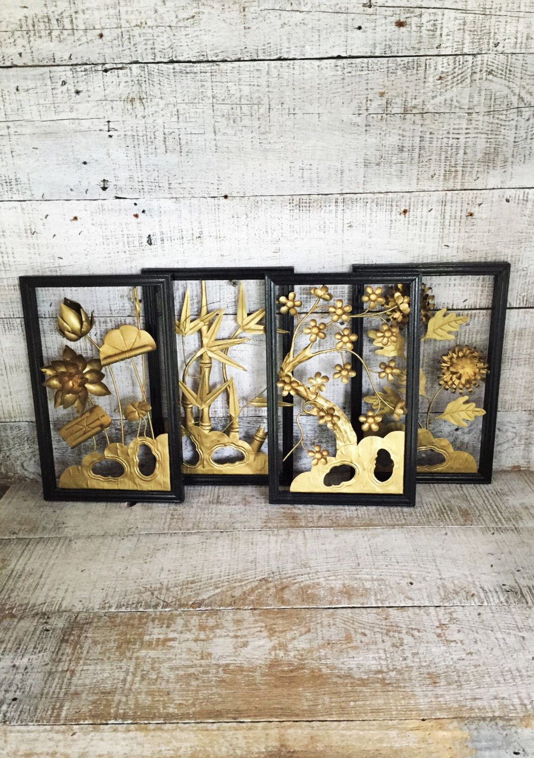 Flower Wall Hangings Set Of 3 Tin Flowers Wall Art Brass With Most Current Blended Fabric Celestial Wall Hangings (set Of 3) (View 12 of 20)