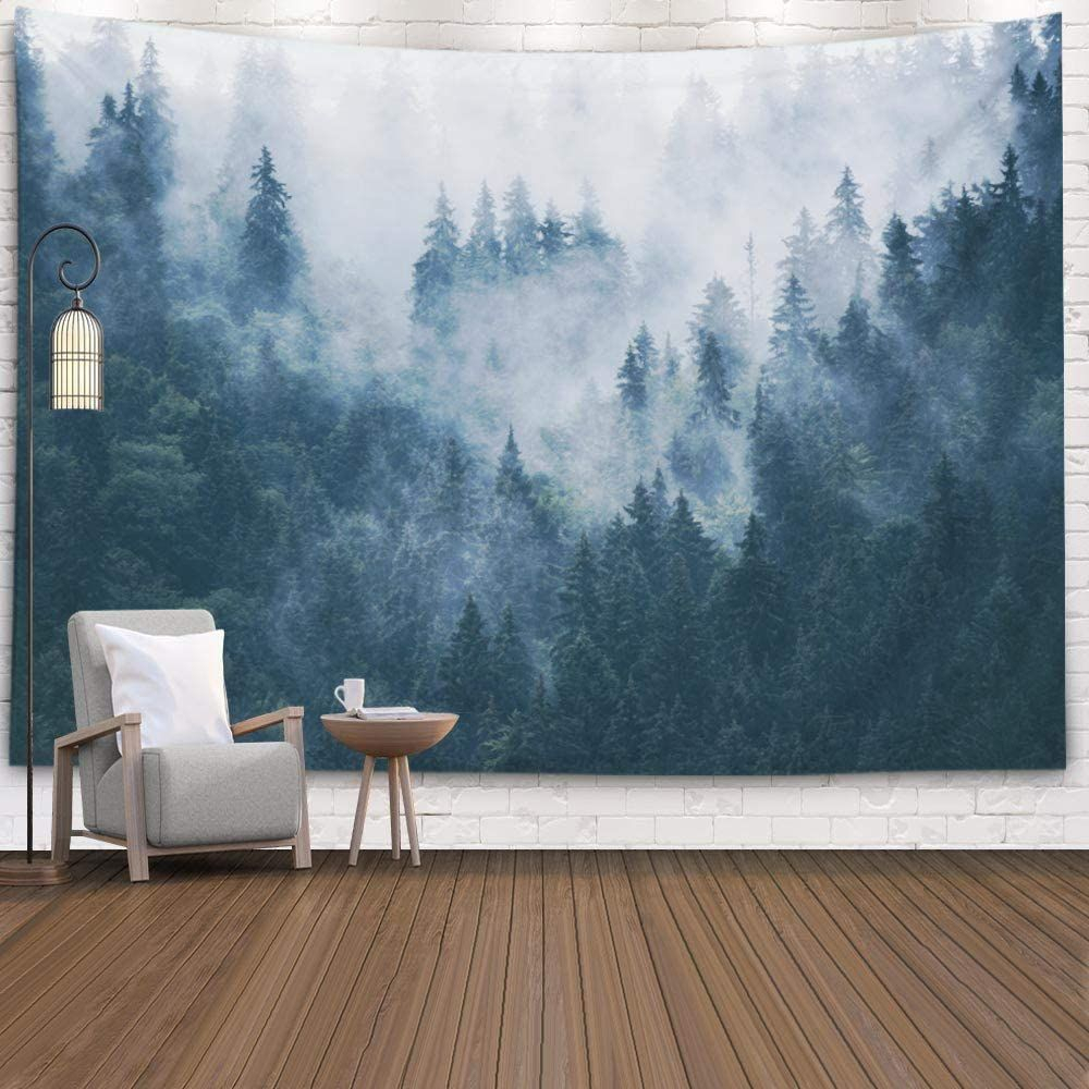 Forest Wall Hanging Tapestry,mens Tapestry For Bedroom, Room Intended For Most Popular Blended Fabric Living Life Tapestries (View 2 of 20)