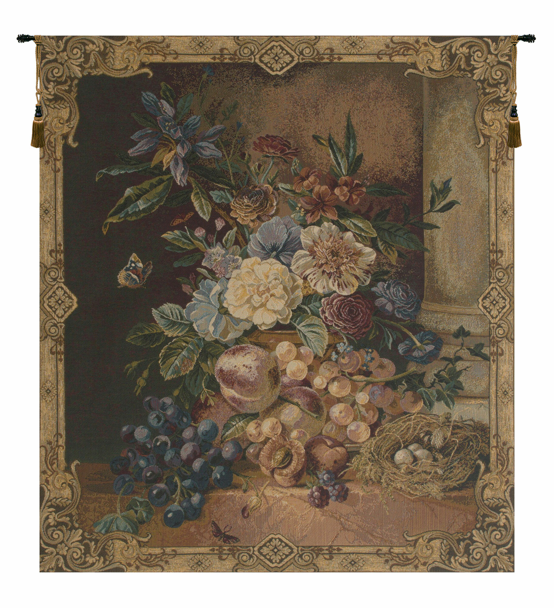 Frame Of Flowers I European Wall Hanging In Current Blended Fabric Autumn Tranquility Verse Wall Hangings (View 6 of 20)