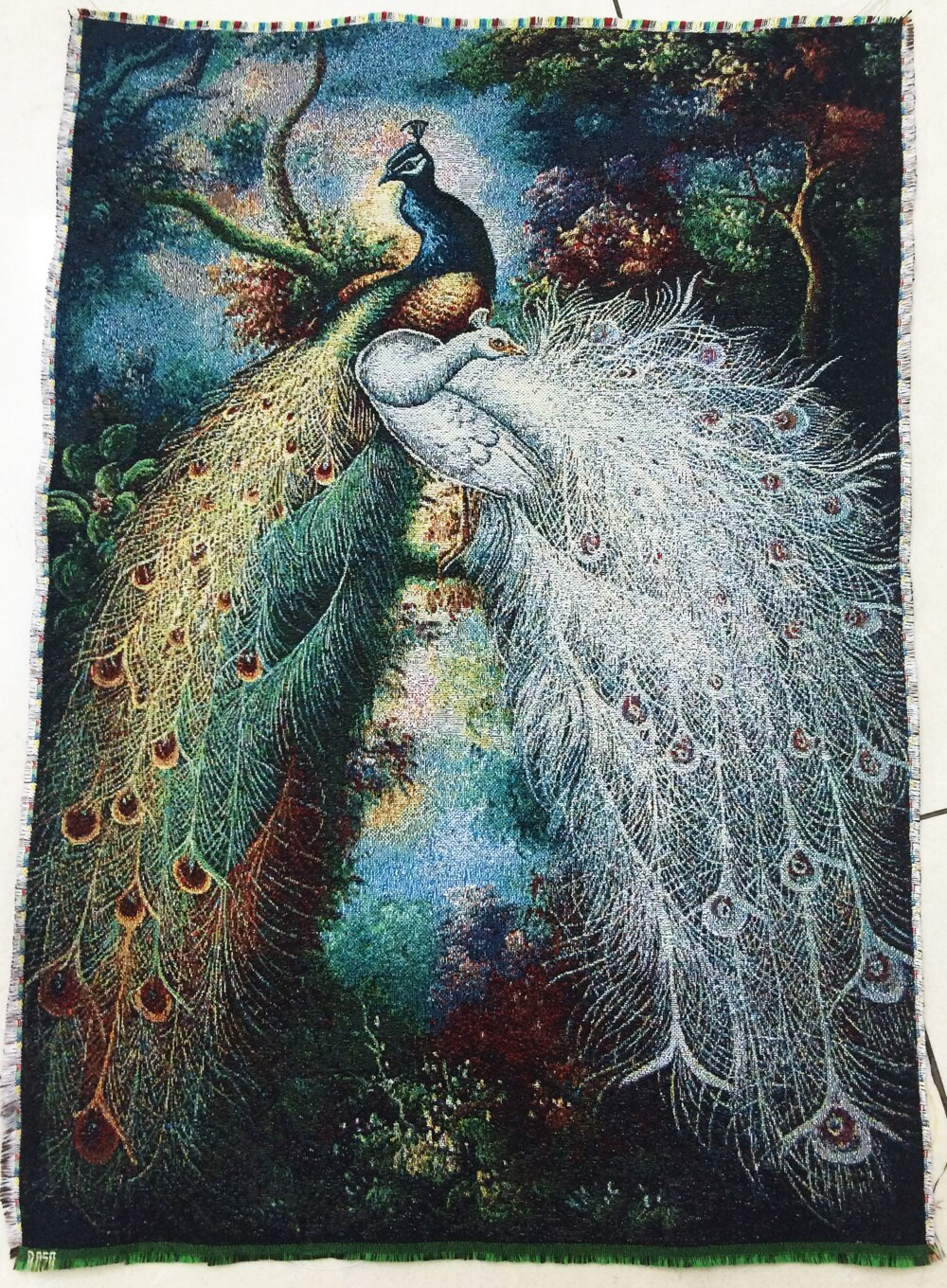 Free Shipping Hot Sales Middle Size Gobelin Tapestry, Beautiful Peacock Fabric Picture,wall Hanging Fabric Pictures Pertaining To Newest Blended Fabric Peacock European Tapestries (View 6 of 20)