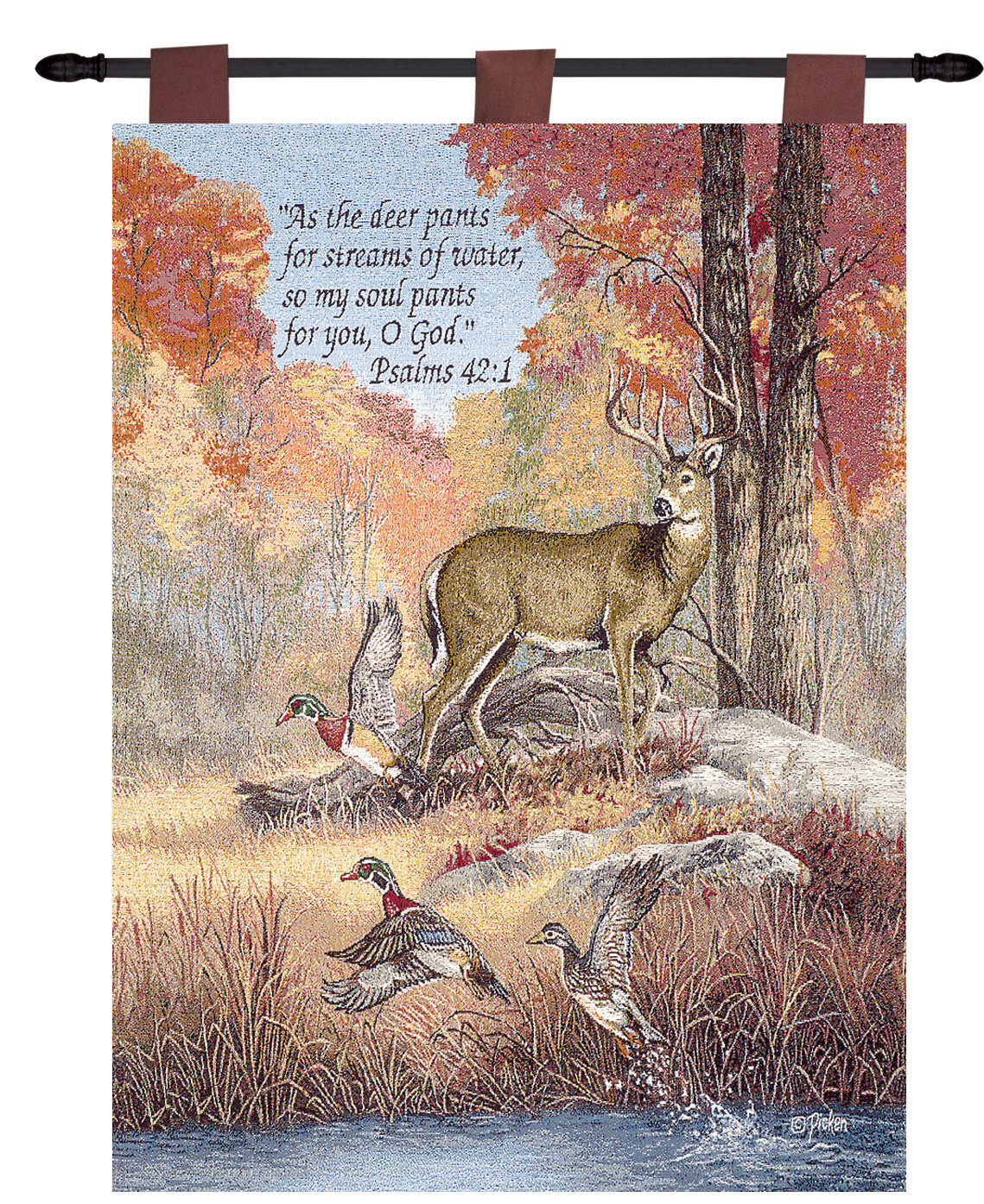 Fur Feathers & Fall Verse Tapestry For Latest Blended Fabric Autumn Tranquility Verse Wall Hangings (View 2 of 20)