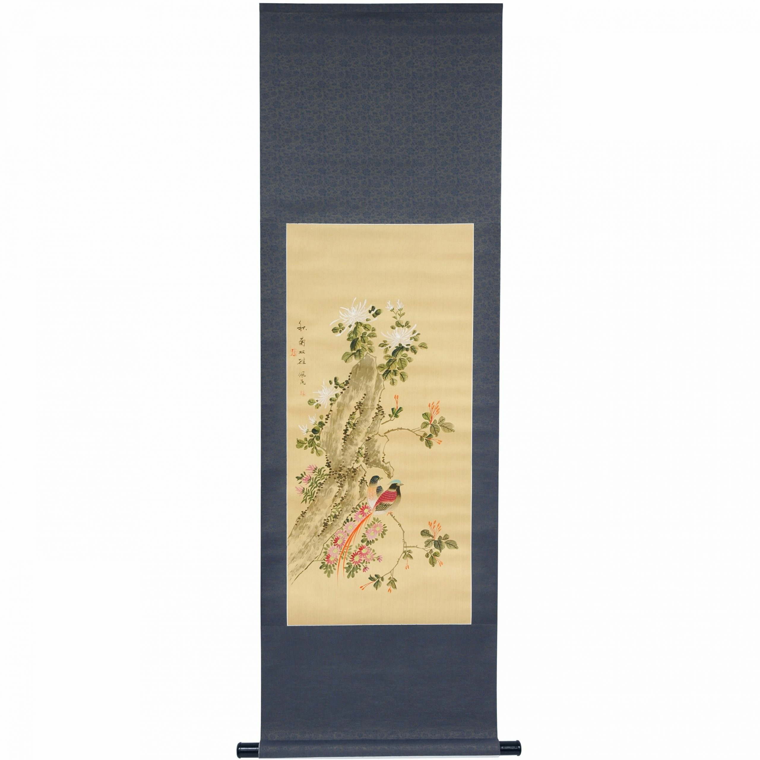 Graceful Birds Oriental Watercolor Painting Wall Hanging With Regard To Most Up To Date Blended Fabric Havenwood Chinoiserie Tapestries Rod Included (View 18 of 20)