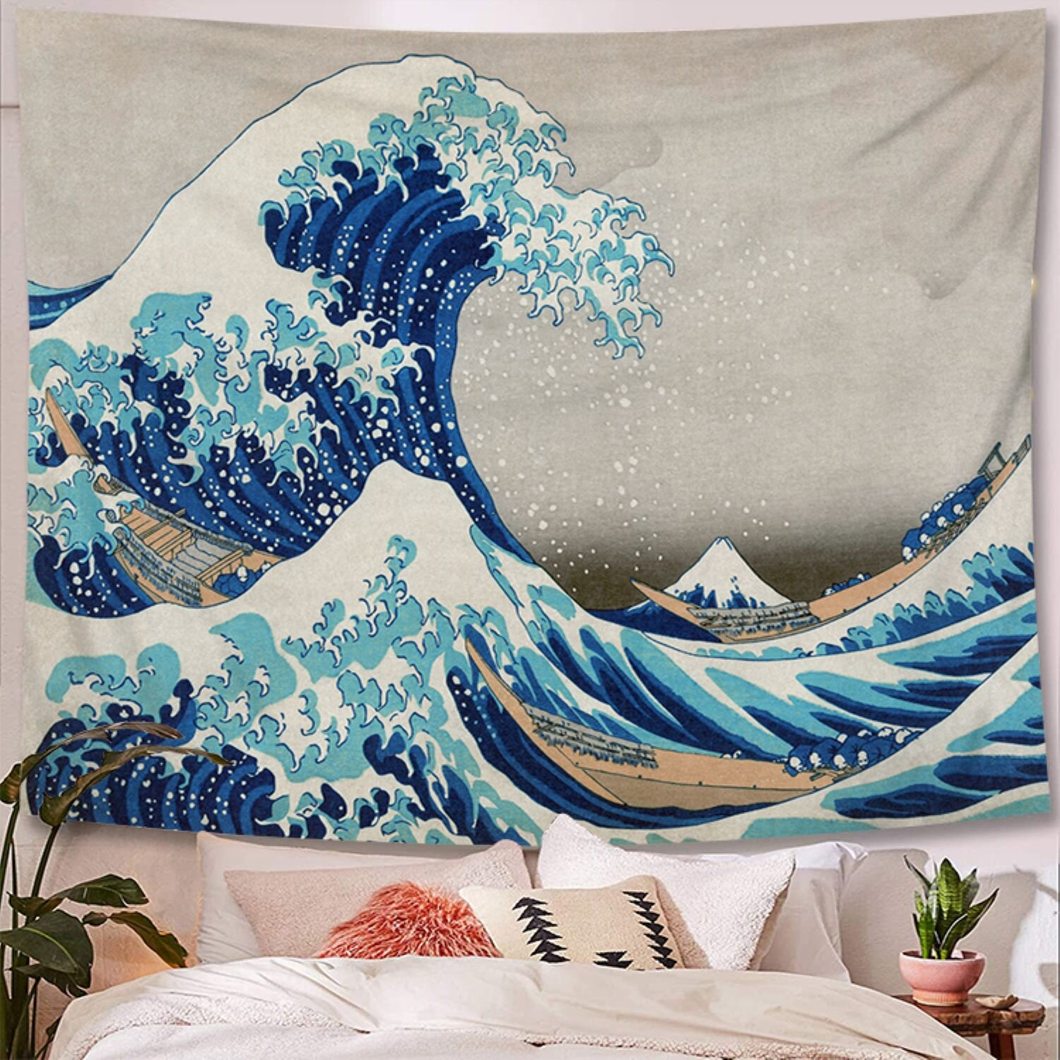 Great Wave Kanagawa Polyester Tapestry With Hanging Accessories Included With Recent Blended Fabric Clancy Wool And Cotton Wall Hangings With Hanging Accessories Included (View 16 of 20)