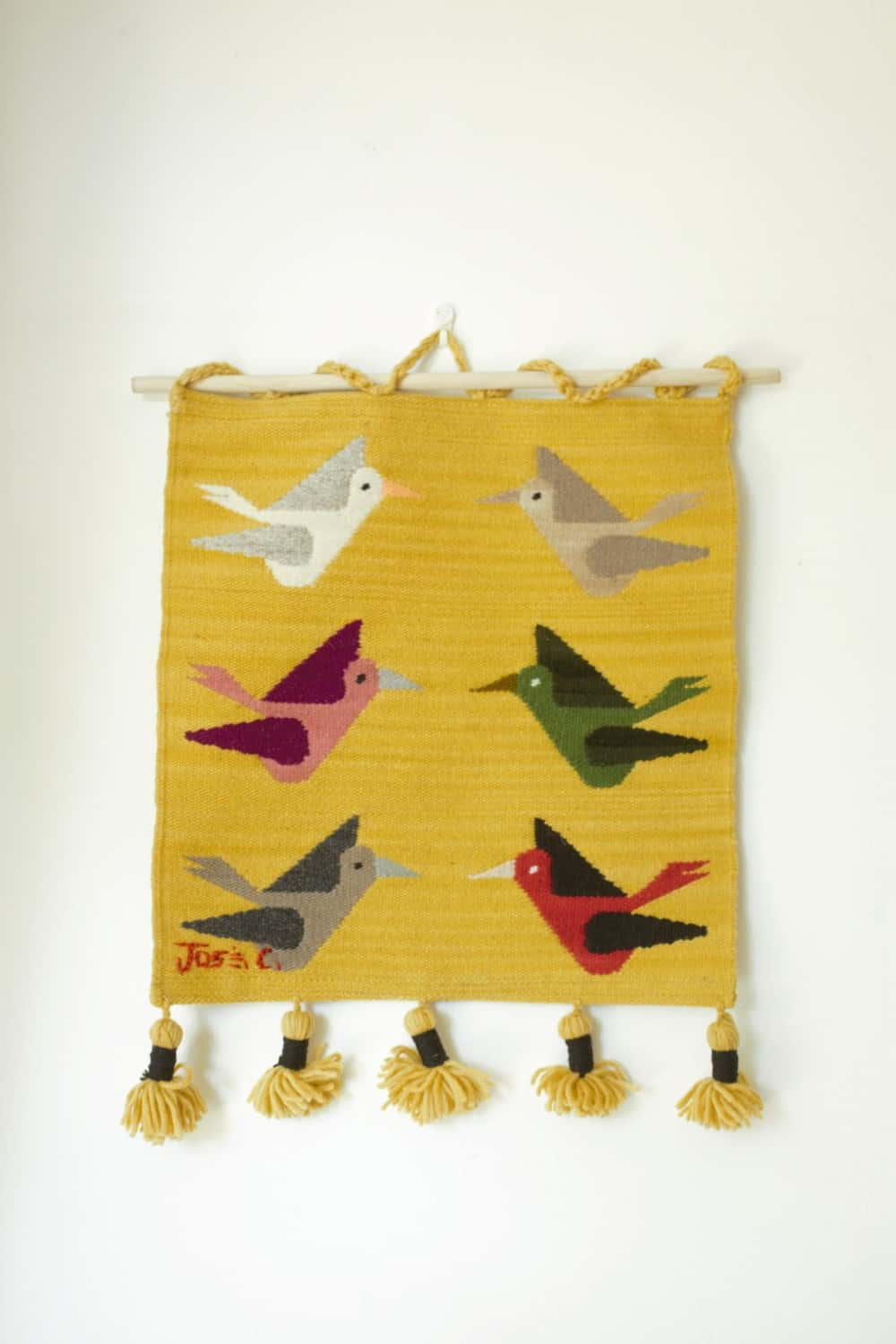 Hand Woven Wall Hangings – Pajaros Series Ct02by Within Latest Hand Woven Wall Hangings (View 16 of 20)