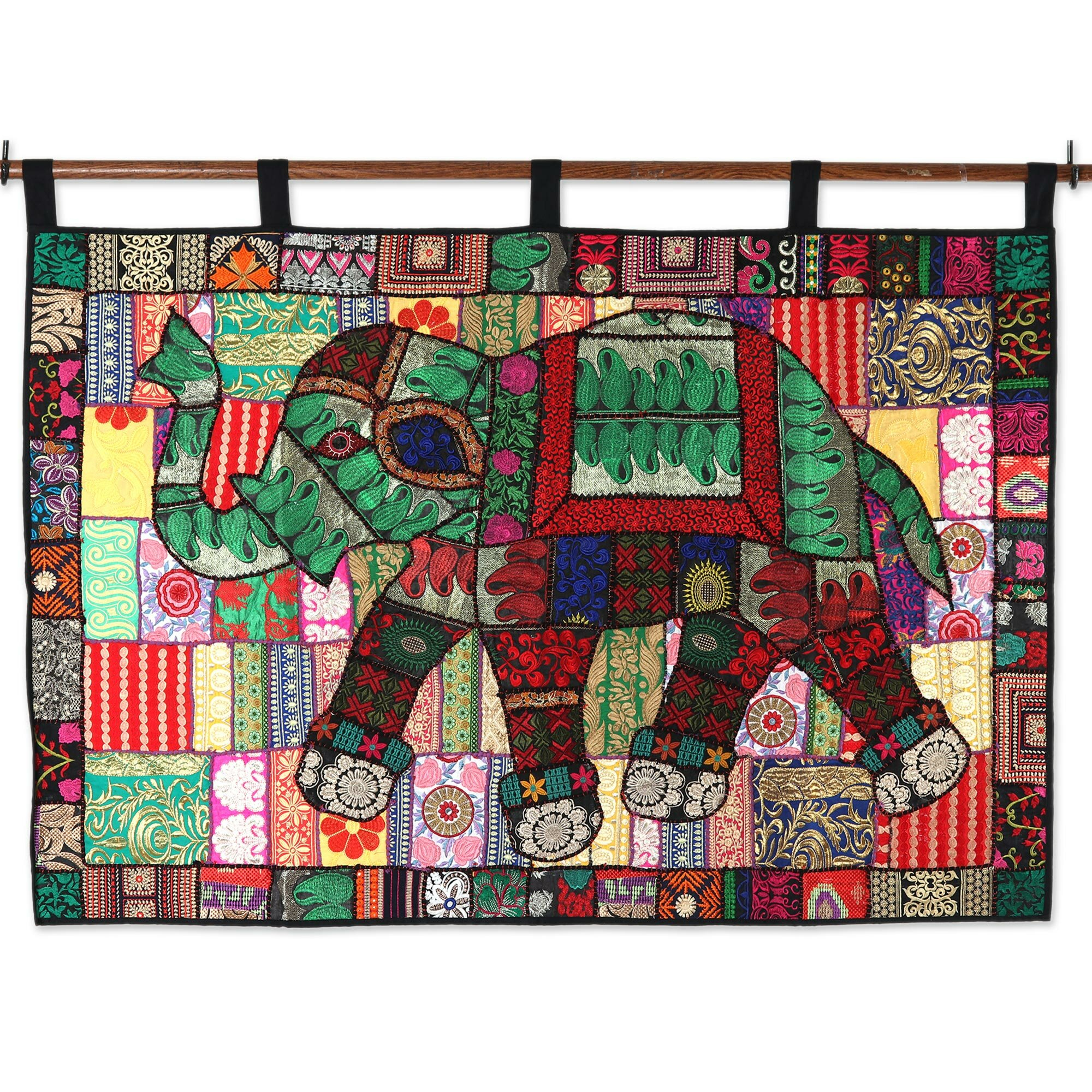 Handmade Elephant Recycled Cotton Blend Patchwork Wall Hanging In Newest Blended Fabric Amazing Grace Wall Hangings (View 10 of 20)