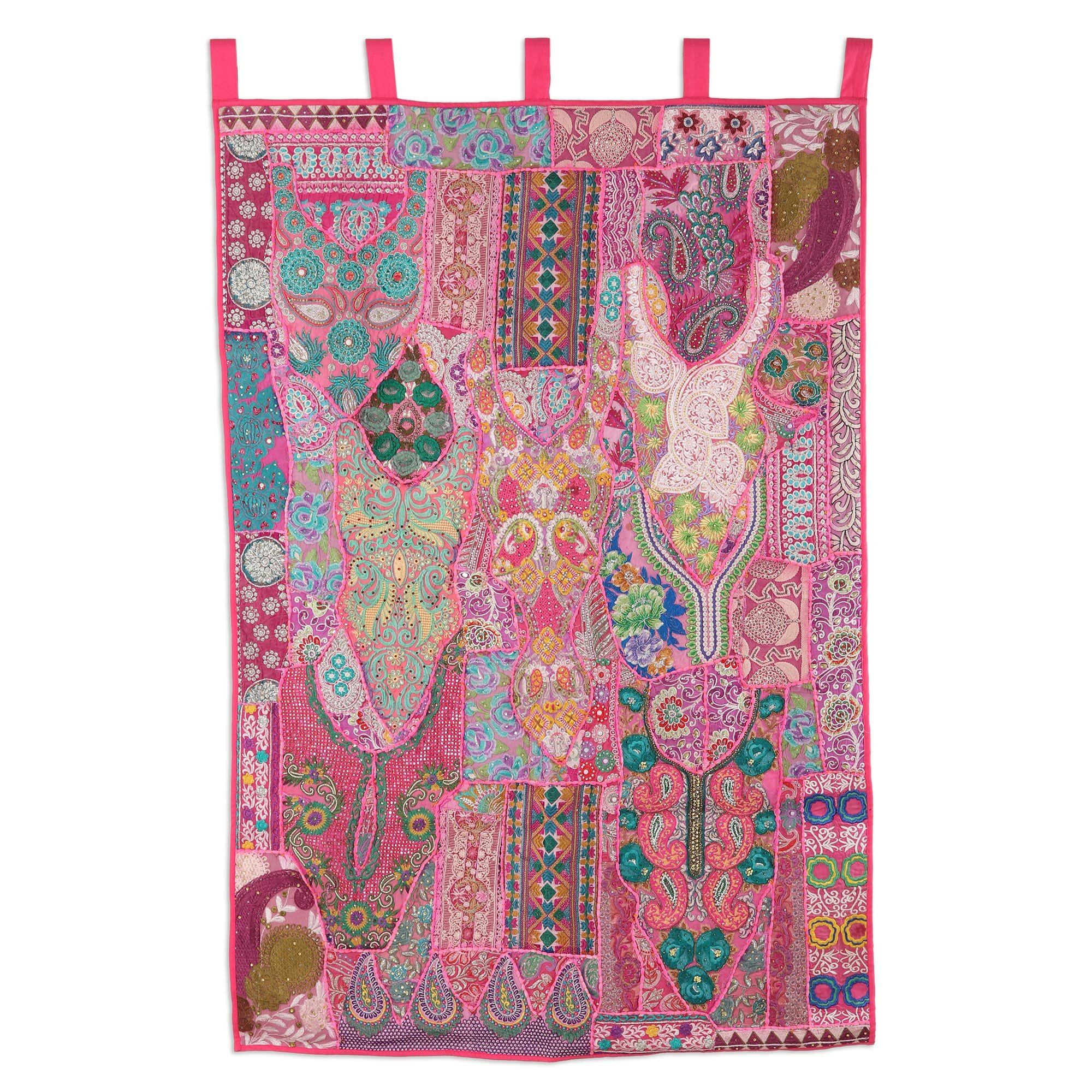 Handmade Jaipur Classic Recycled Cotton Blend Patchwork Wall Hanging Pertaining To Most Recent Blended Fabric Klimt Tree Of Life Wall Hangings (View 16 of 20)