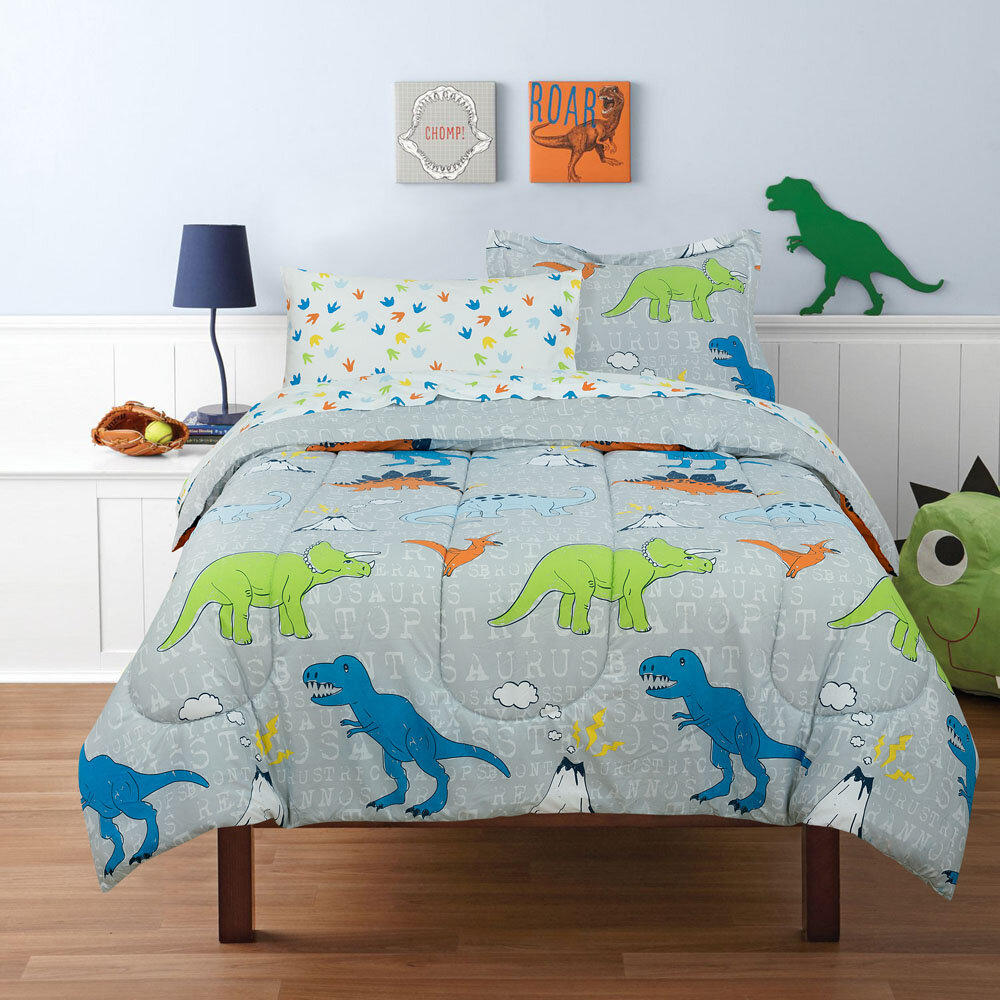 Harriet Bee Suki Dinosaur Reversible Comforter Set & Reviews For Most Popular Blended Fabric Mod Dinosaur 3 Piece Wall Hangings Set (View 15 of 20)