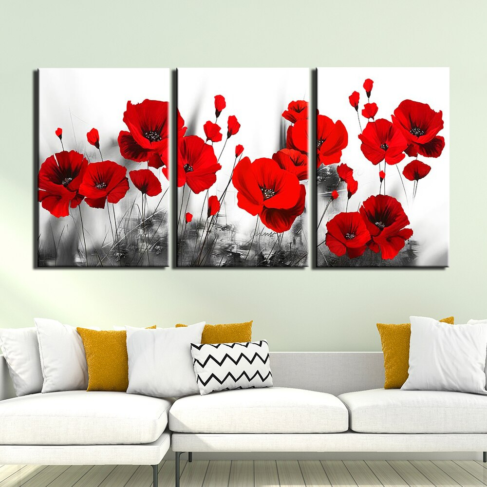 Hd Canvas Print Red Poppy Flowers Painting Picture Poster Regarding Current Blended Fabric Poppy Red Wall Hangings (View 12 of 20)