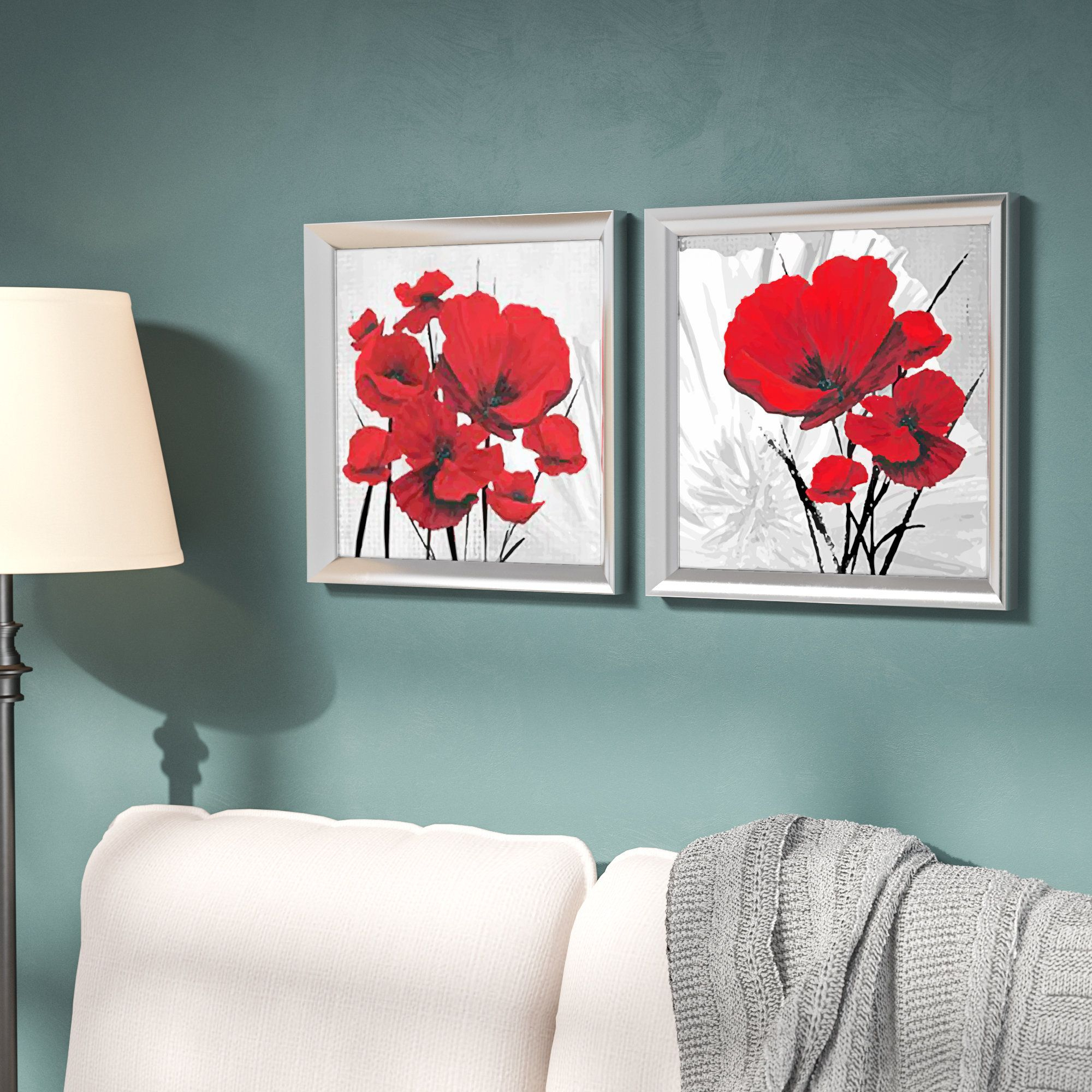 Image Result For Red Poppy Flower Print With Turquoise | Art Pertaining To Most Up To Date Blended Fabric Poppy Red Wall Hangings (View 3 of 20)
