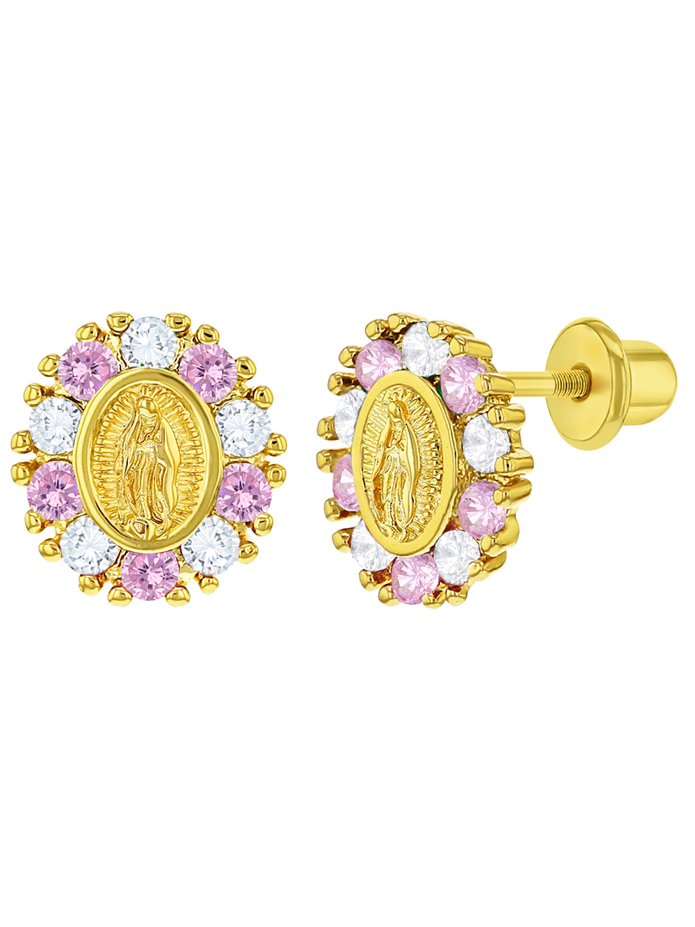 In Season Jewelry – 18k Gold Plated Our Lady Of Guadalupe Cz Screw Back Baby Kids Earrings – Walmart Within Best And Newest Blended Fabric Our Lady Of Guadalupe Wall Hangings (View 15 of 20)