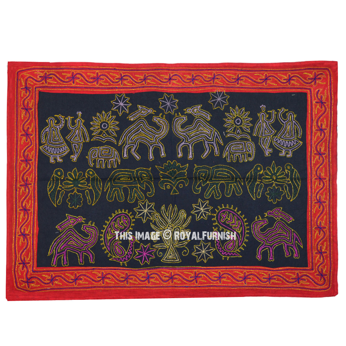 Indian Bohemian Hand Embroidered Fabric Wall Hanging Tapestry Inside 2018 Blended Fabric Southwestern Bohemian Wall Hangings (View 12 of 20)