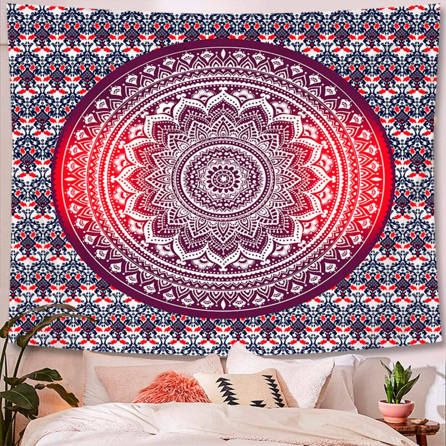 Indian Hippie Bohemian Psychedelic Peacock Mandala Polyester Tapestry With Hanging Accessories Included With Regard To Most Recent Blended Fabric Clancy Wool And Cotton Wall Hangings With Hanging Accessories Included (View 6 of 20)