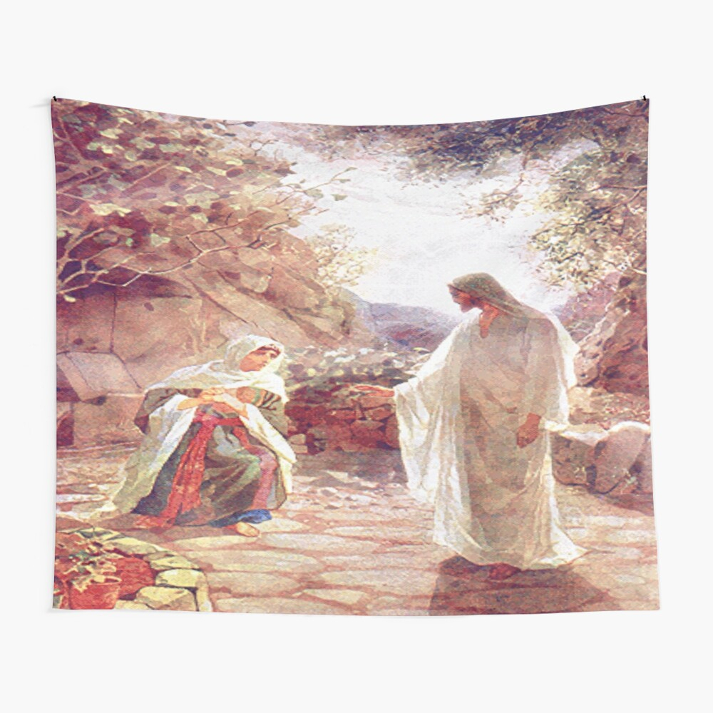 """jesus Appears To Mary Magdalene"" Tapestryblackstargirl With Most Recent Blended Fabric Garden Of Gethsemane Tapestries And Wall Hangings (View 17 of 20)"