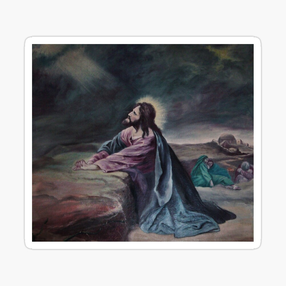 """Jesus Praying In Garden Of Gethsemane """" Tapestry Pertaining To Recent Blended Fabric Garden Of Gethsemane Tapestries And Wall Hangings (Gallery 7 of 20)"""