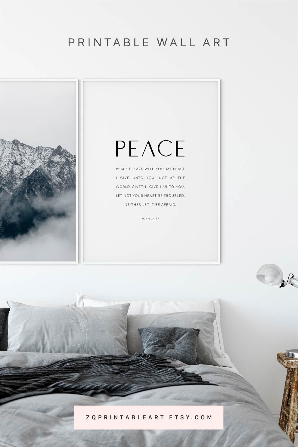 John 14:27 Bible Verse Artwork Christian Poster, Scripture With Most Up To Date Peace I Leave With You Wall Hangings (View 17 of 20)
