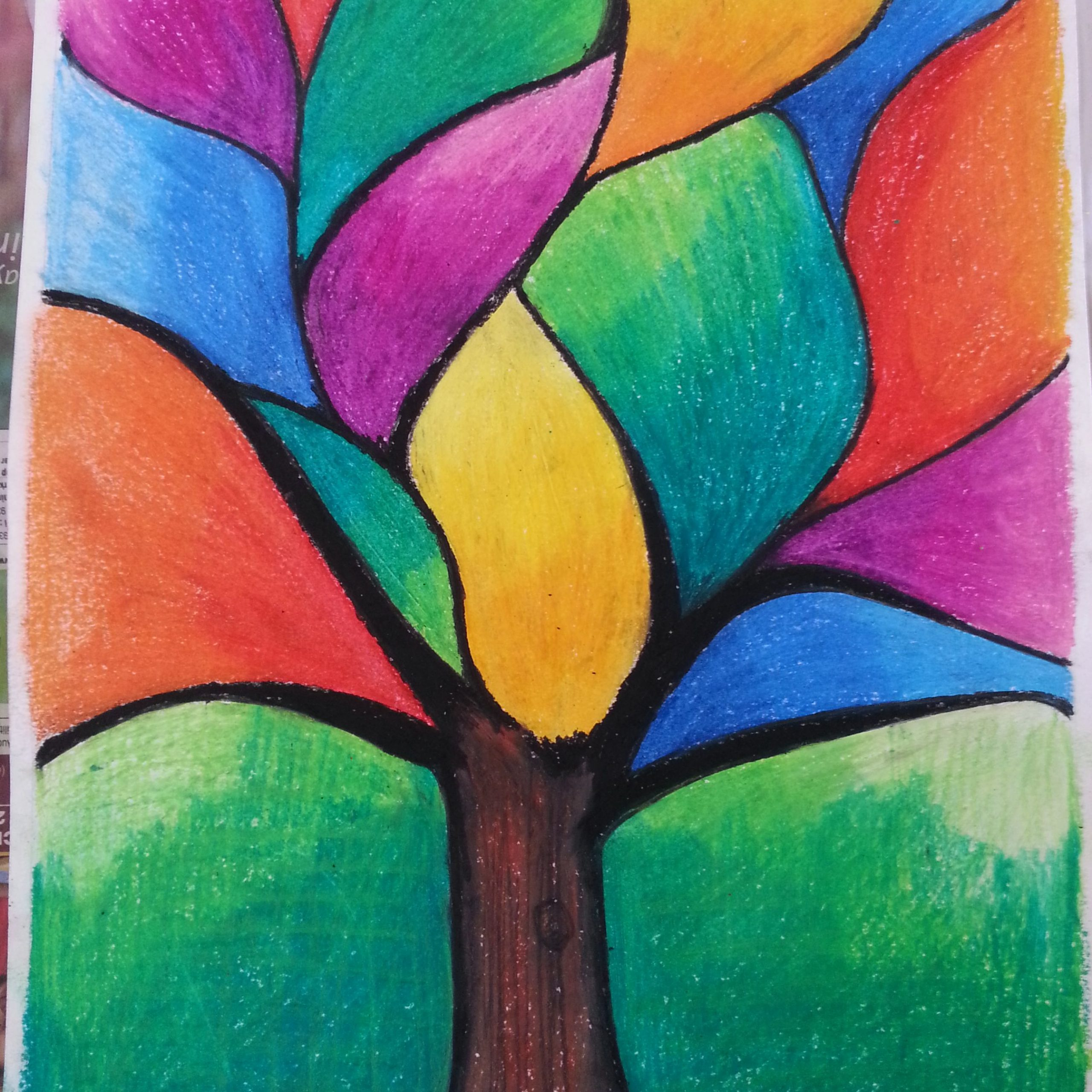 Journey Of Tree | Abstract Art Painting, Oil Pastel Art Intended For Best And Newest Blended Fabric Pastel Tree Of Life Wall Hangings (View 13 of 20)