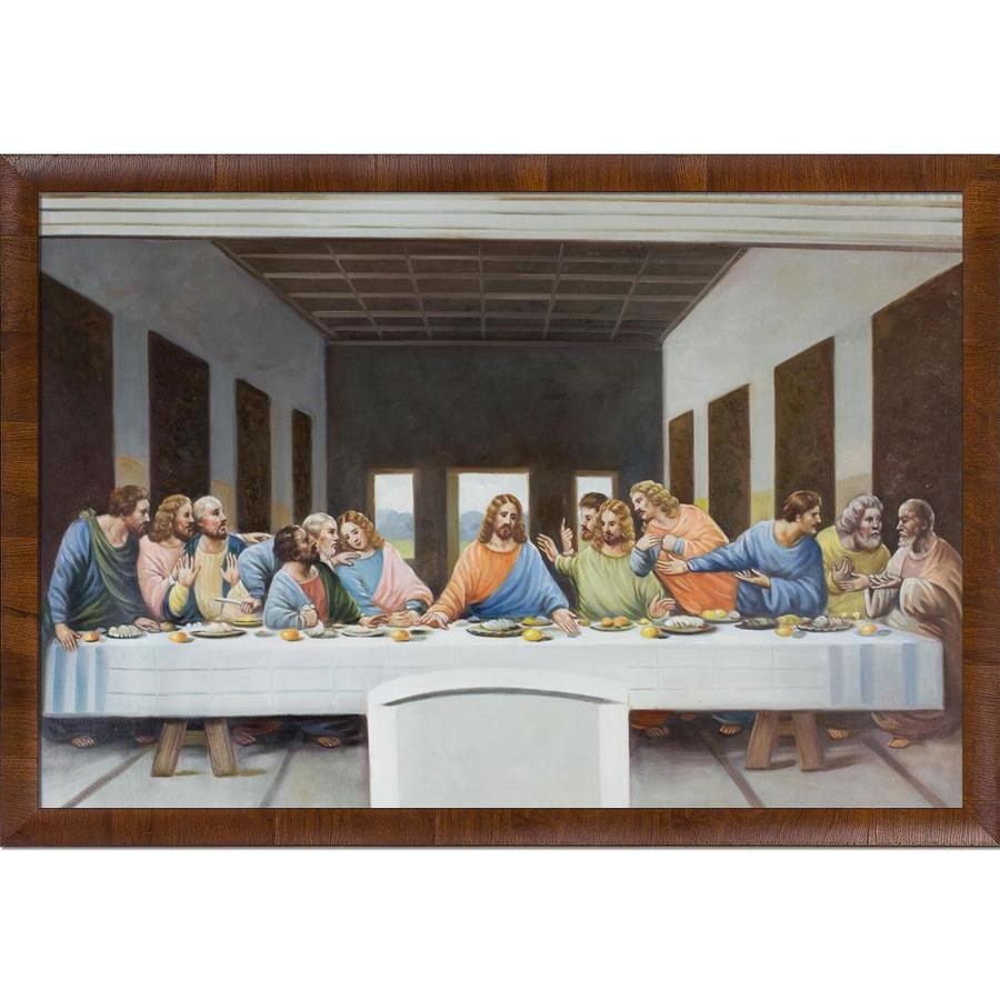 La Pastiche La Pasticheoverstockart The Last Supperleonardo Da  Vinci With Natural Wood Panzano Frame Oil Painting Wall Art, 39 In X 27 In Inside Latest Blended Fabric Leonardo Davinci The Last Supper Wall Hangings (View 16 of 20)