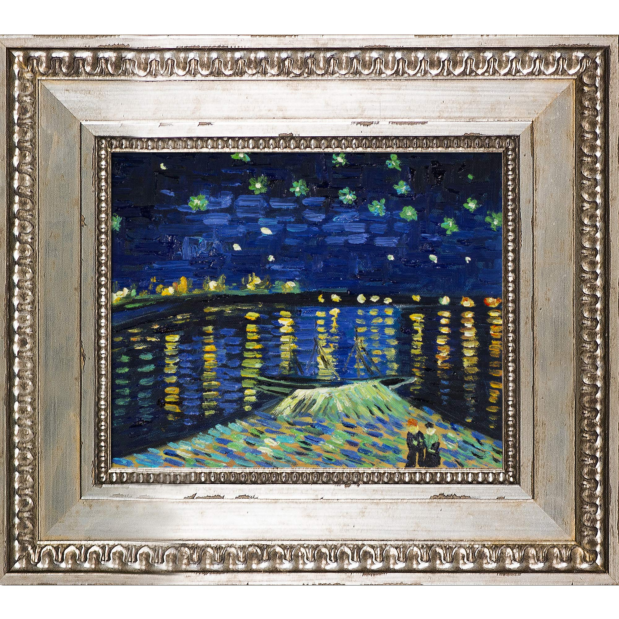 La Pastiche Starry Night Over The Rhone Framed Oil Painting Within Latest Blended Fabric Van Gogh Starry Night Over The Rhone Wall Hangings (View 6 of 20)